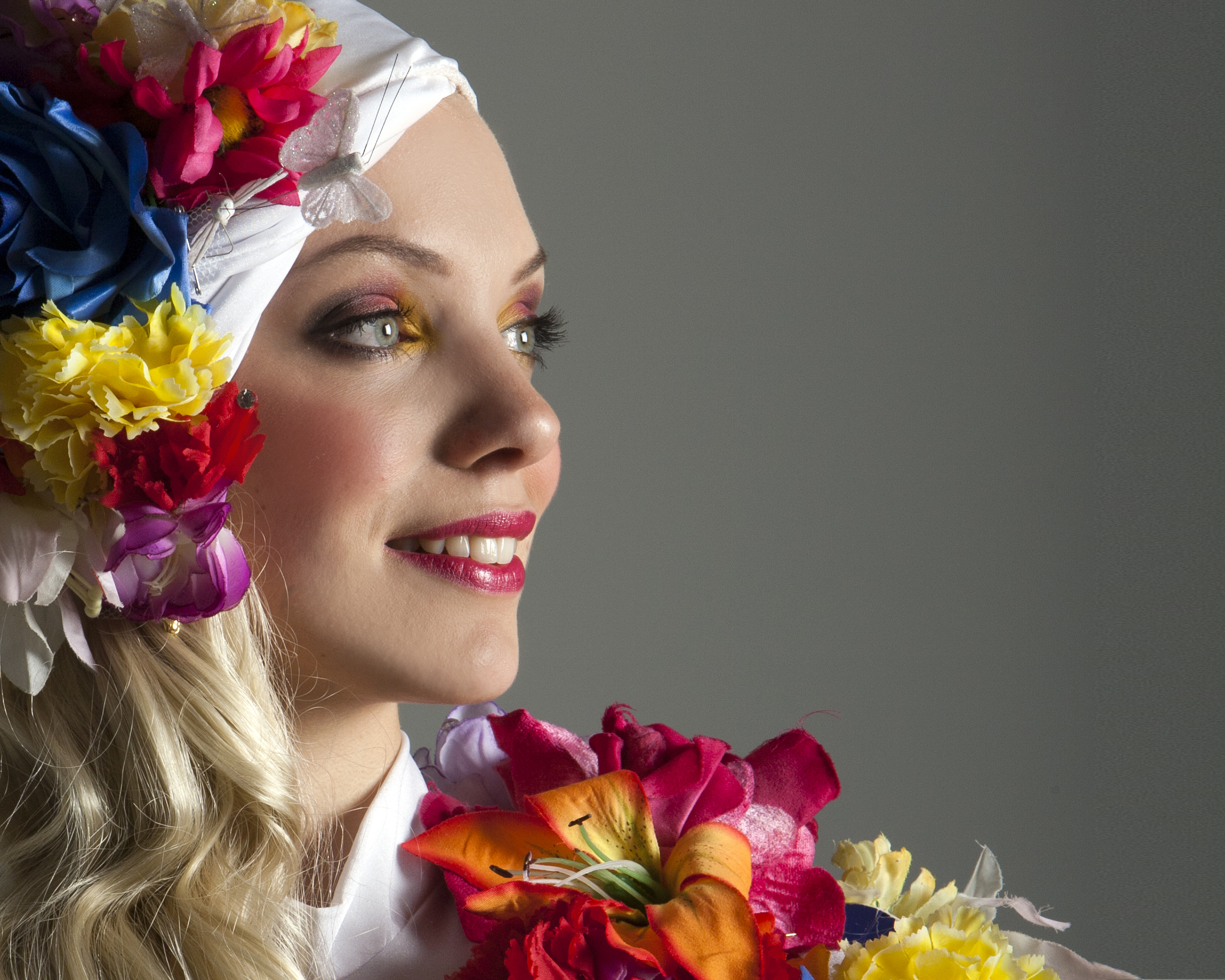 costume, flower head dress and chest piece, Divine Company.jpg