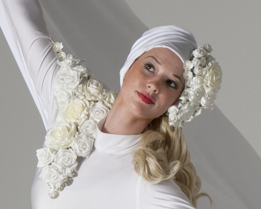 costume, white rose head dress and chest detail, Divine Company.jpg