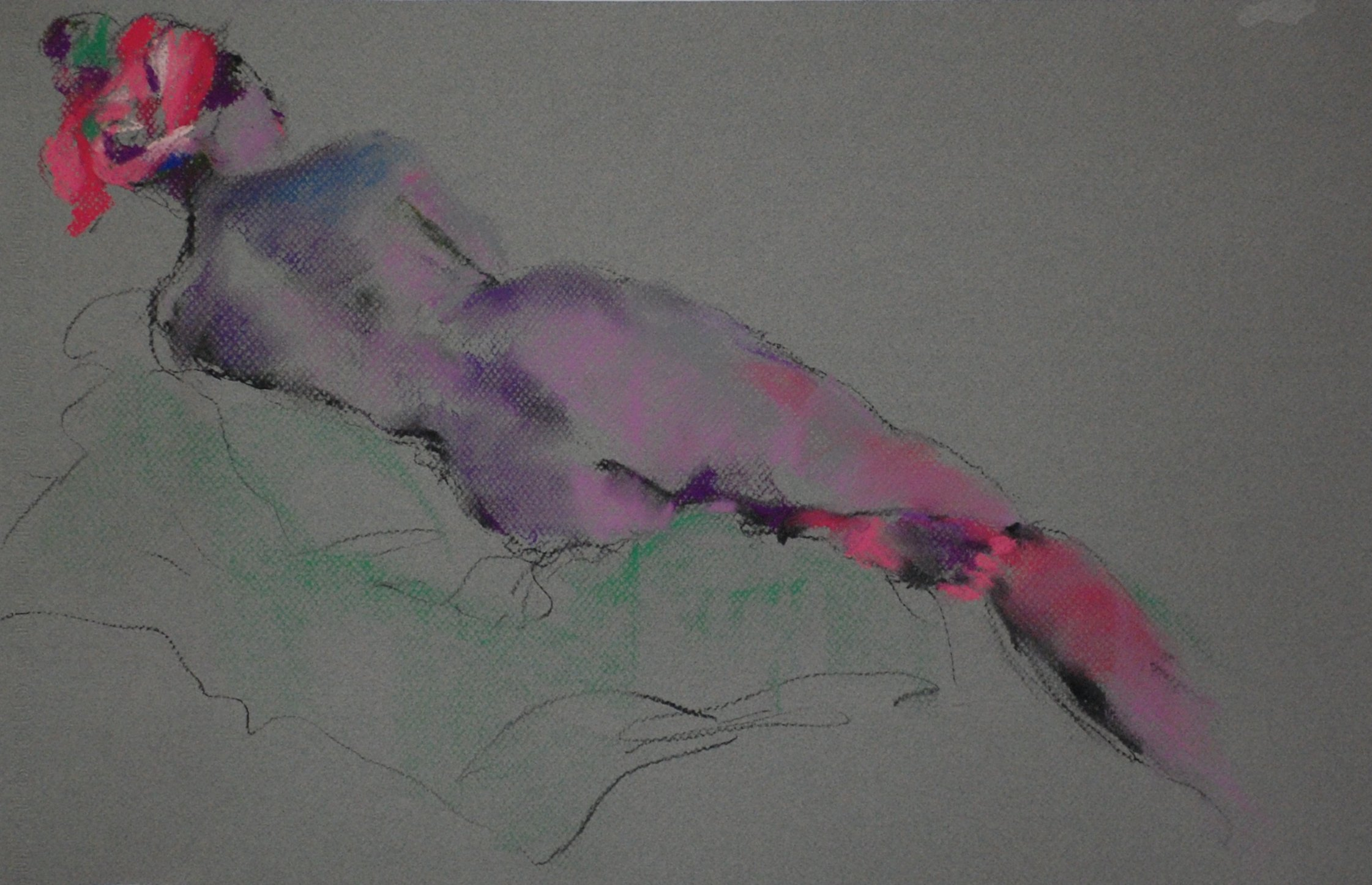 Nude with Pink Scarf