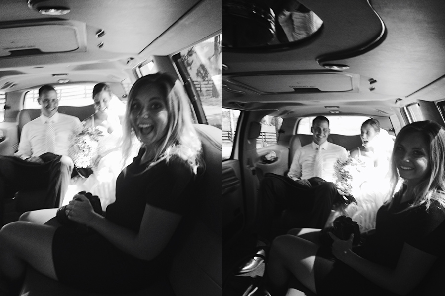 casual limo rides with the bride and groom.