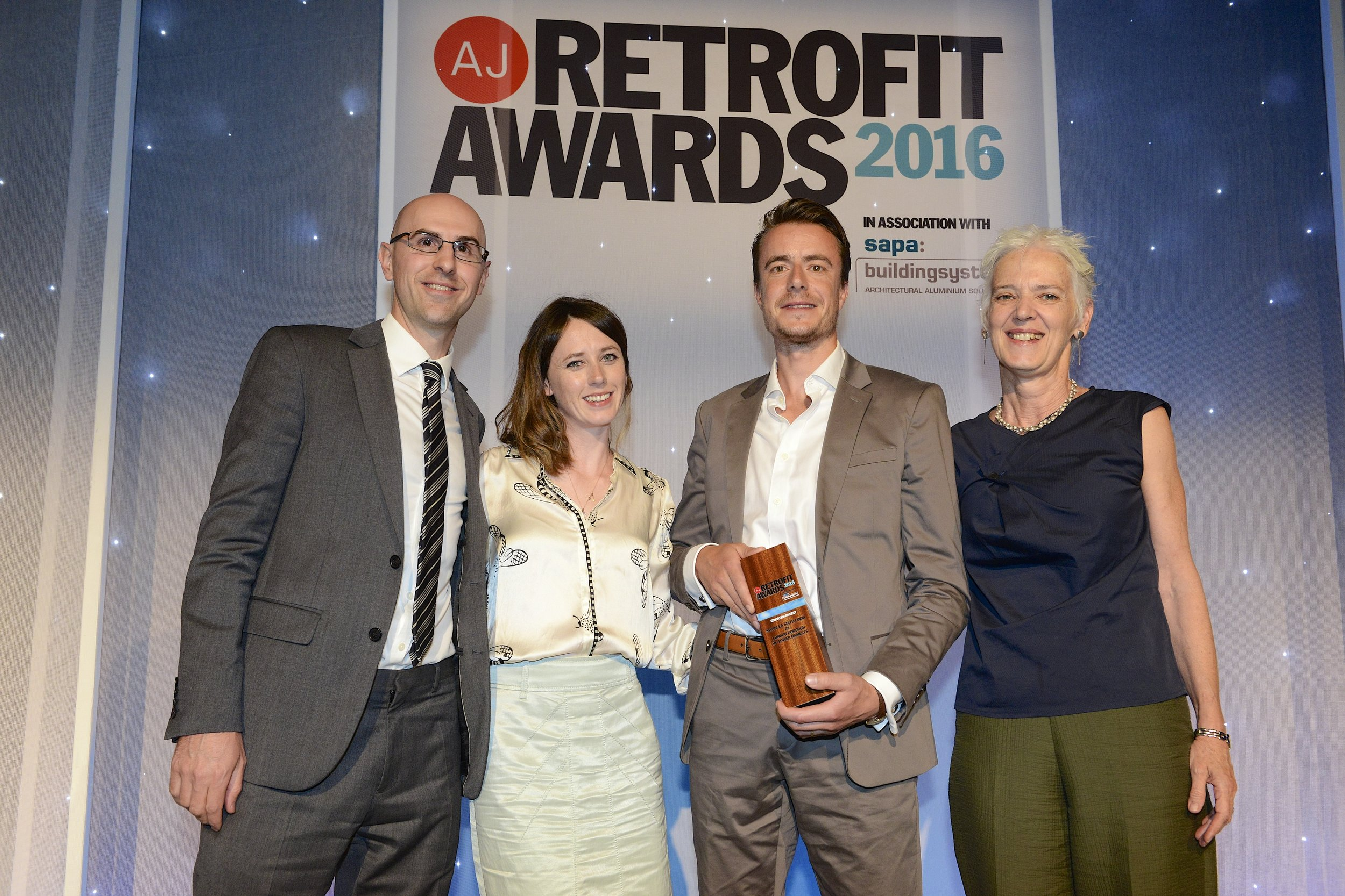 September 2016   Delighted to announce that our Swanlea scheme designed for London Borough of Tower Hamlets won the Architect's Journal Retrofit for Education Award. Hugely thrilled, particularly considering the competition!