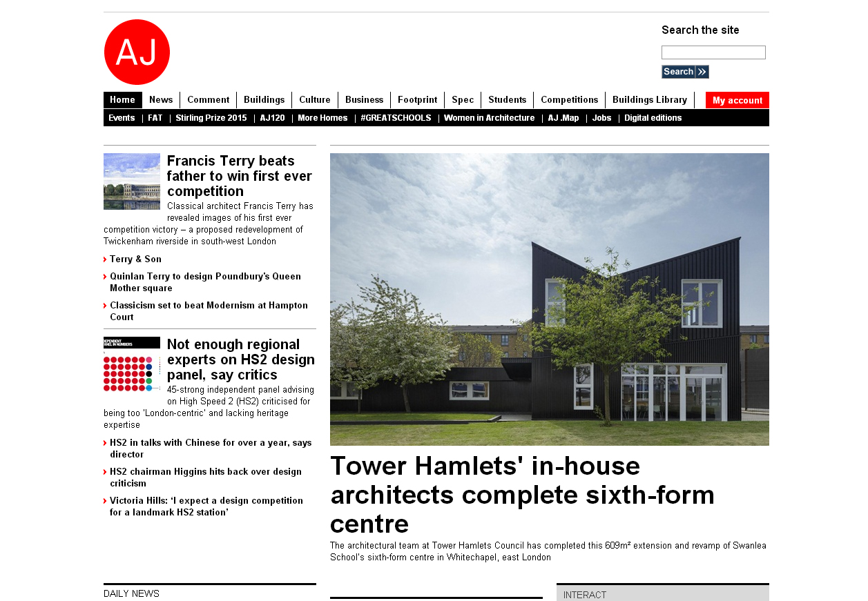 November 2015   Thrilled to see our Swanlea Project Published on Architect's Journal Website.