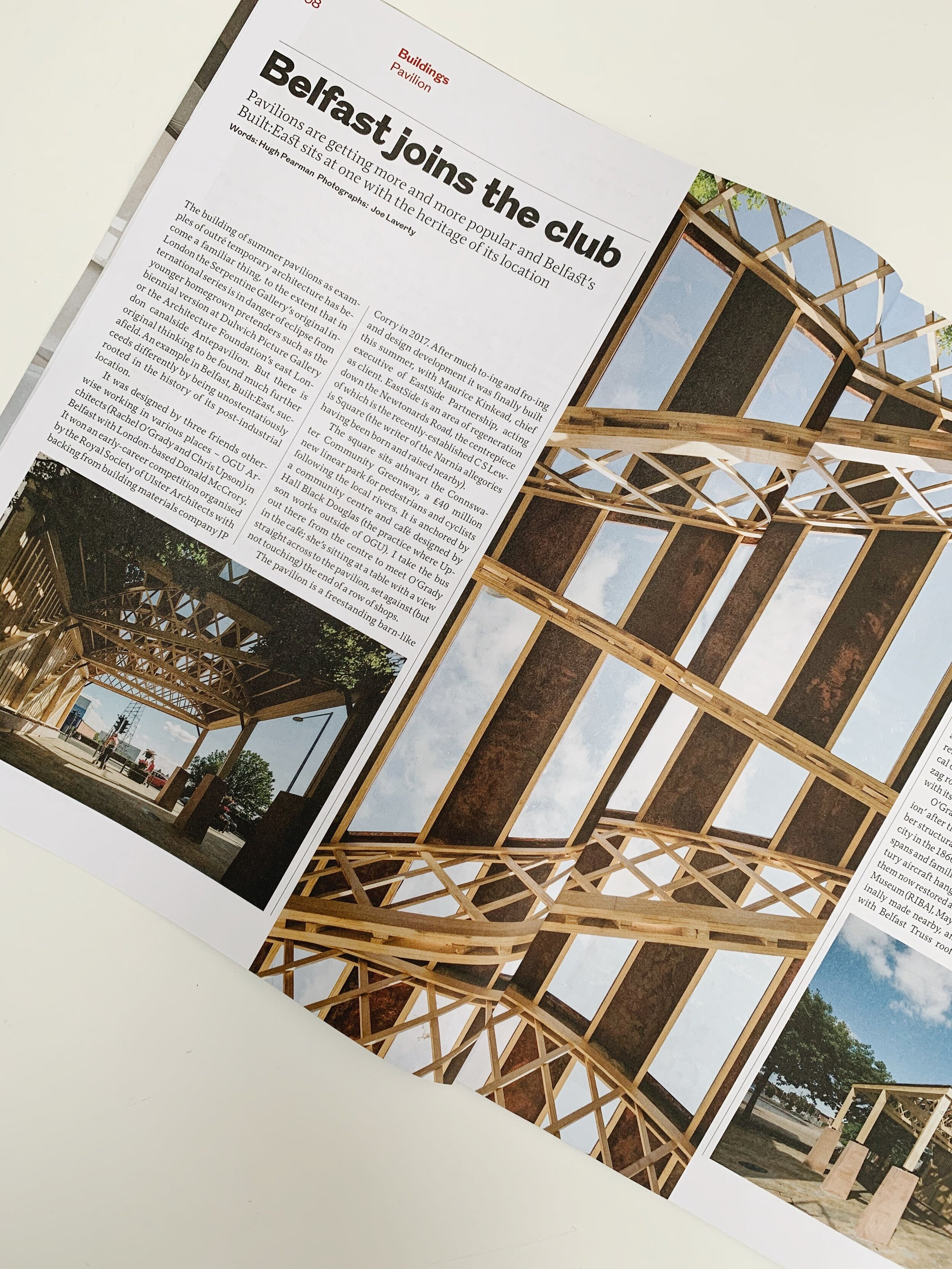 October 2019   Great to see former collaborators at OGU Architects be healthily recognised in the latest RIBA journal for their Belfast Built:East Pavilion – cover photo too!