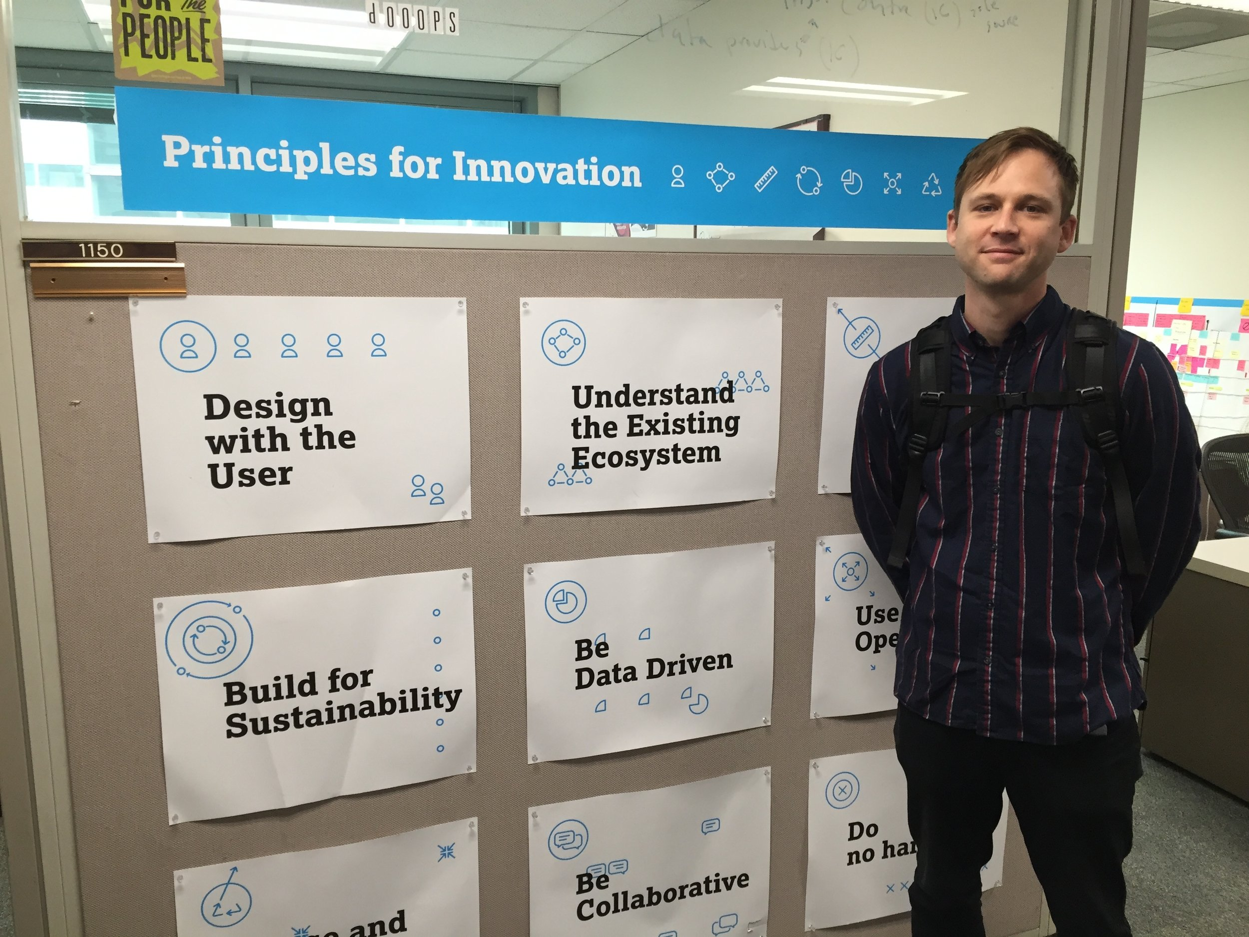 """The UNICEF """"Principles for Innovation."""" Where class began AND where it ended.In their offices :)"""