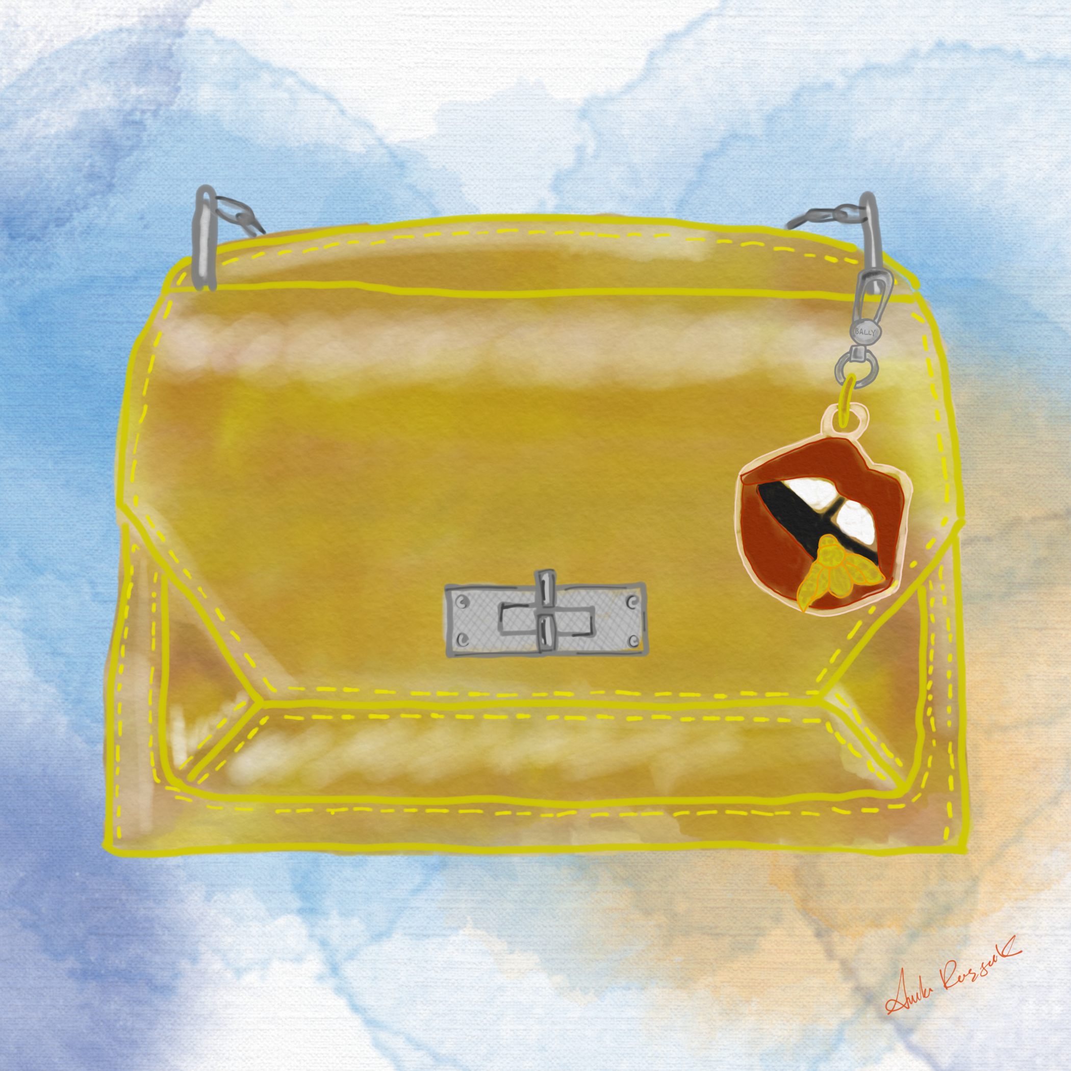 The Suzy bag with a playful keychain clip. A illustration from their fall collection.