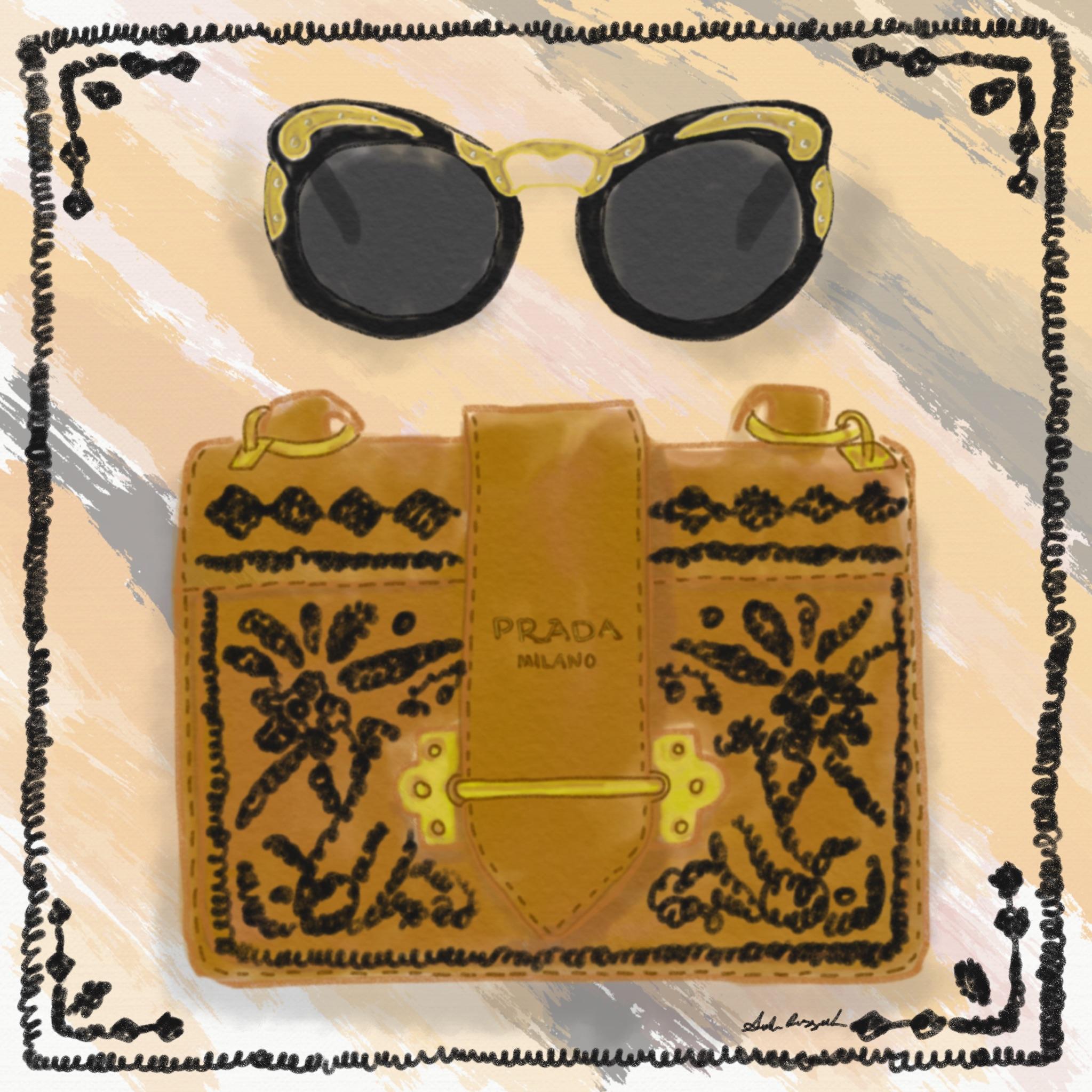 Prada handbag and sunglasses 2017