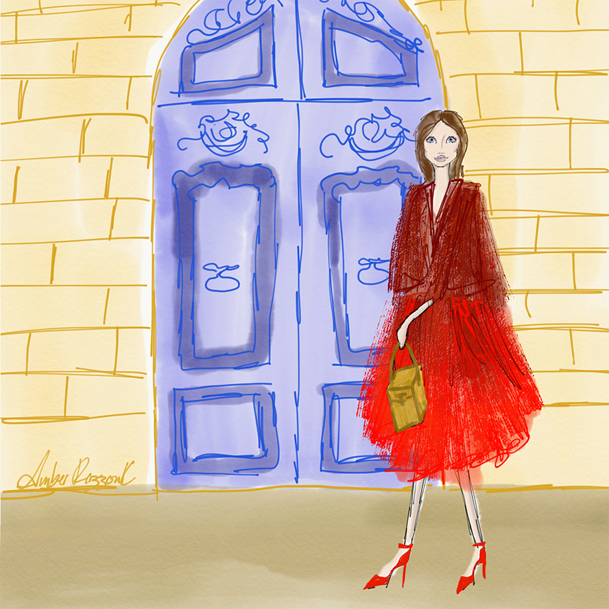 The beautiful red tulle coat