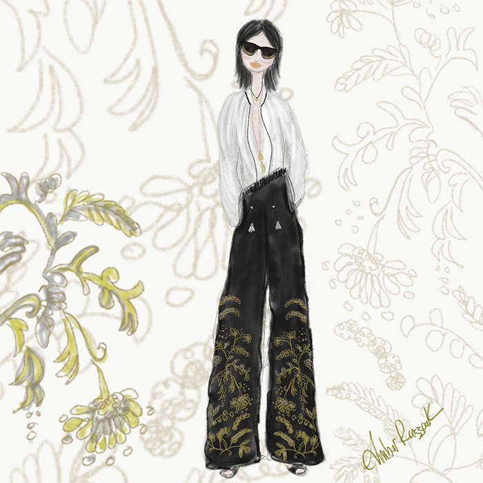 One of my favorite looks, a relaxed embellished velvet pant with a loose fit peasant style blouse