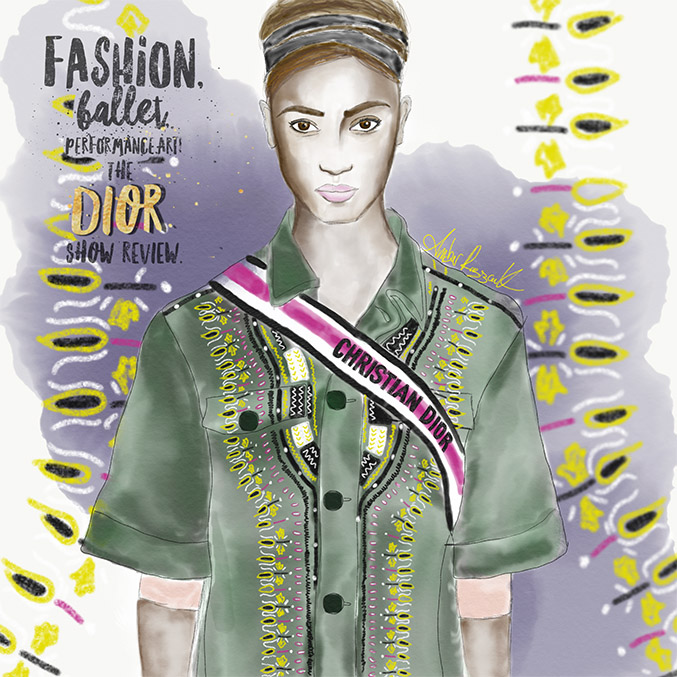 One of the big trends, the military inspired jacket with embroidered stitching! And the double ribbon headband that the models wore.