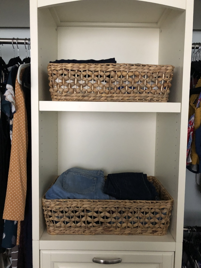 Baskets   Use plastic or wicker, whichever you prefer to store winter, beach, alternate sizes and keepsake items.