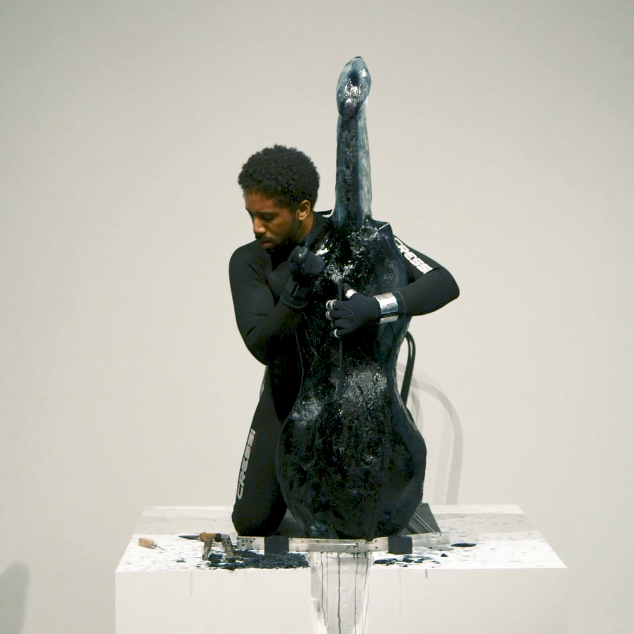 """NHPR: 'What is The Point of a Cello Out of Ice?' Dartmouth Duo Hopes You'll Hear For Yourself.    It's a take on an iconic performance art piece from the 1970s. In that first version, a woman - naked except for a garland of flowers around her neck - played a """"cello"""" made completely of ice. Now, the piece is being re- imagined to reflect modern themes, and that's required some modern engineering as well."""