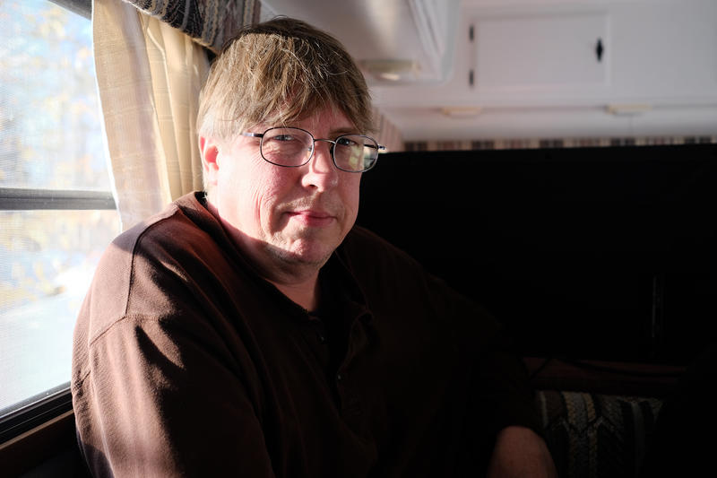 Mark Hollandbeck, a Free State follower, is the first of his family to make the move to New Hampshire from Indiana. He's pictured here in his temporary home, a small trailer in Rindge, N.H. — April 2018