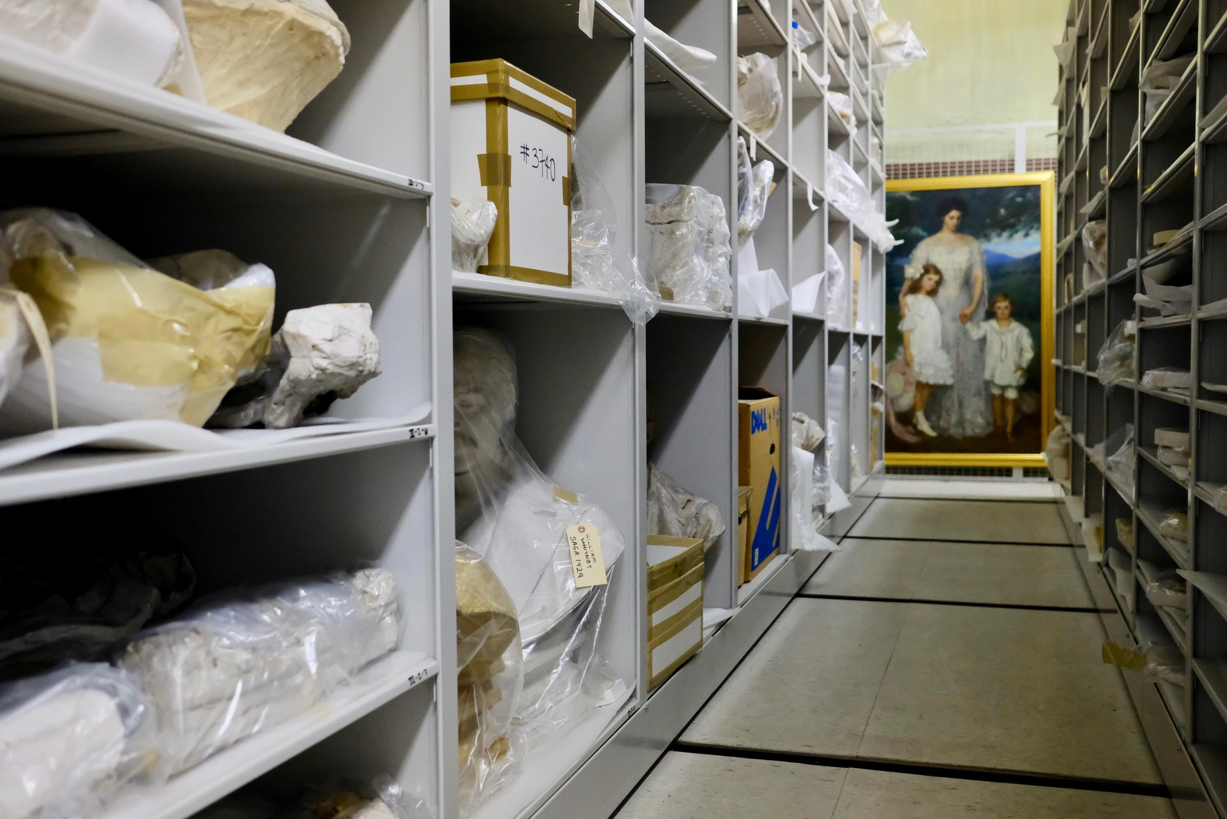 Sculptural molds and other artifacts sit in a storage room at Saint-Gaudens National Historic Site in Cornish, N.H. The artifacts are being closely reexamined for the first time in decades — February 2018