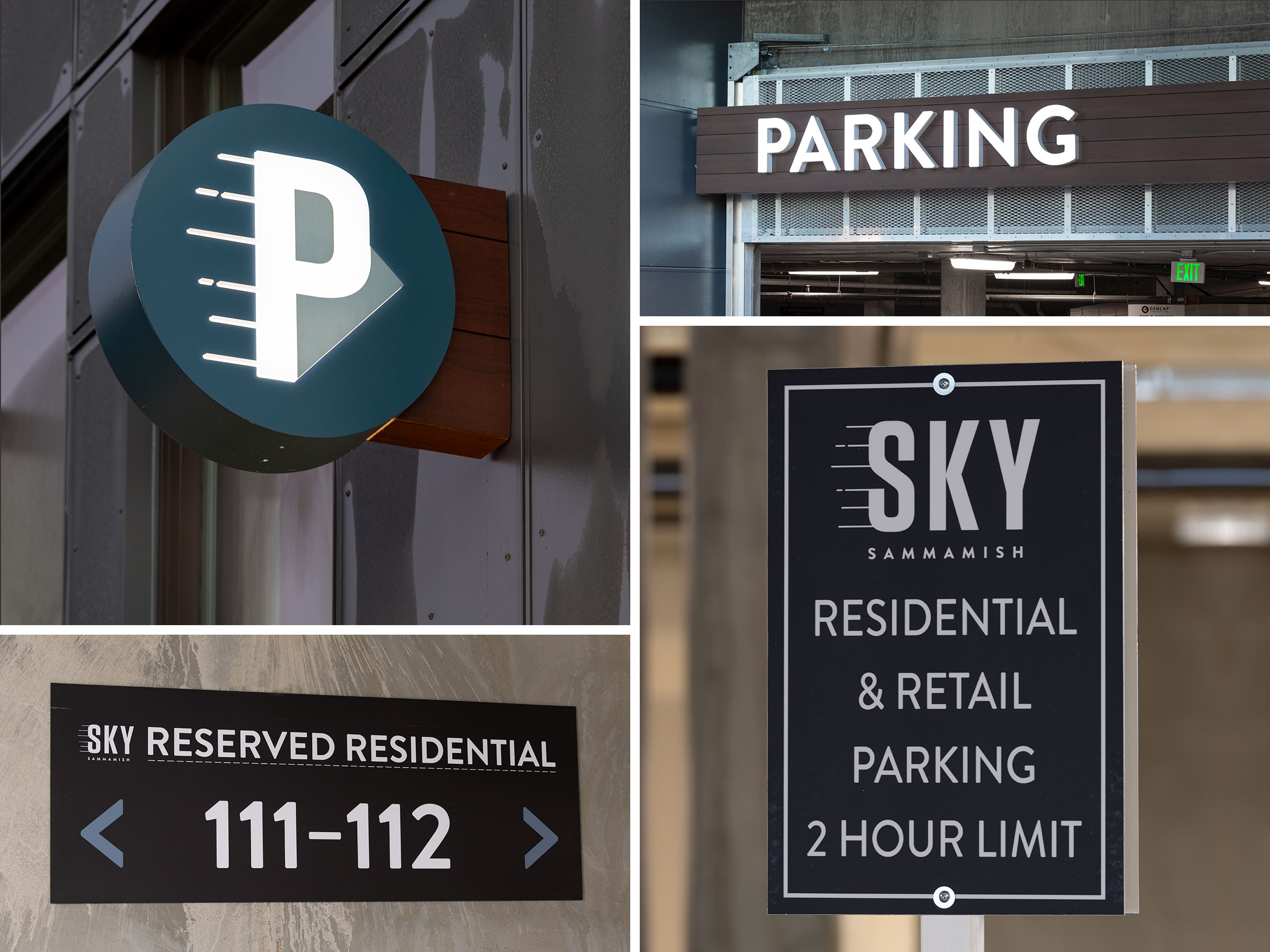 It is imperative that parking signage is intuitive to the patrons of SKY Sammamish. We made these signs consistent by using white typography on dark tone backgrounds; the result is a cohesive and easy to read parking sign package.