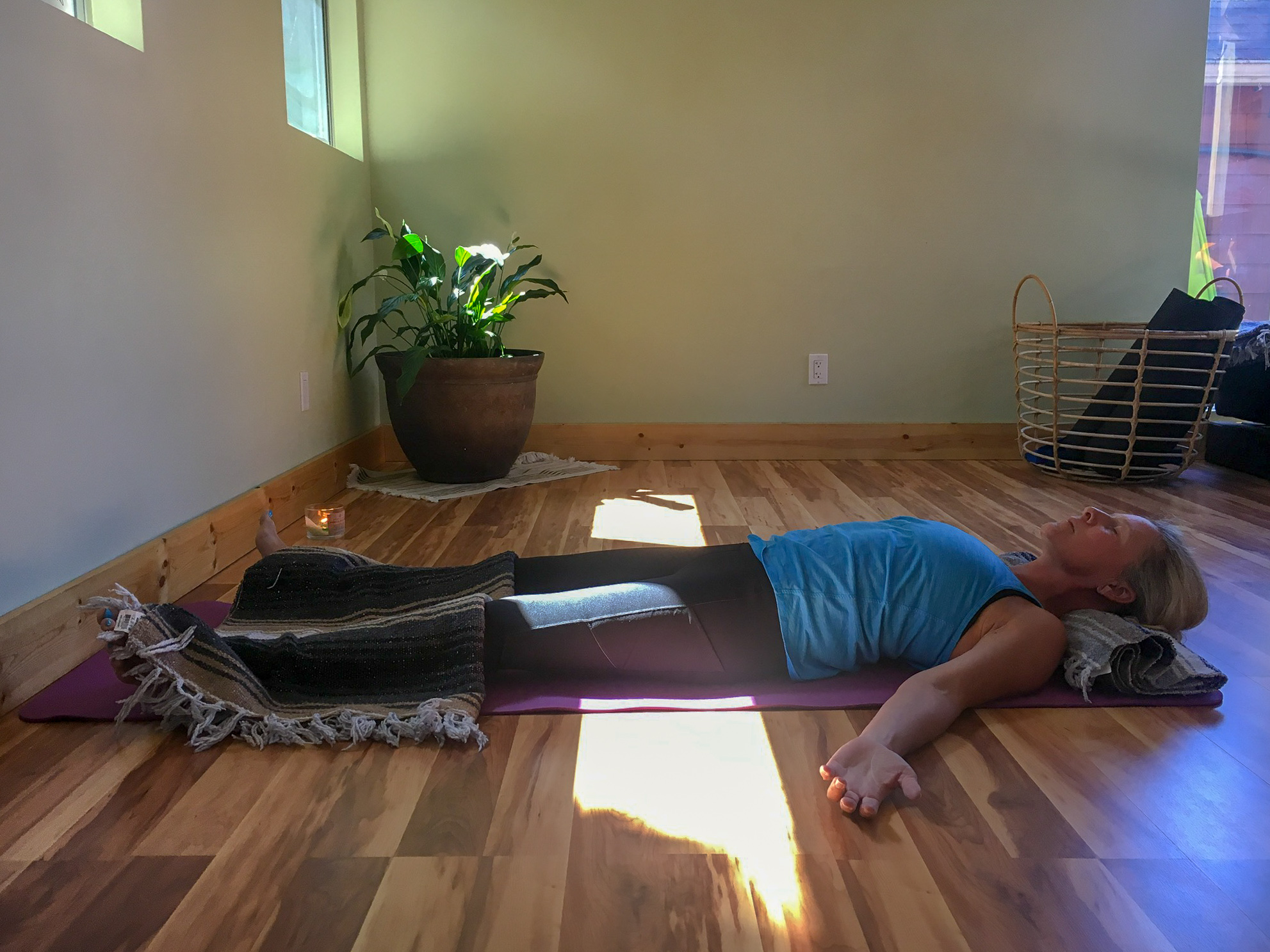 Savasana or Corpse Pose. Try with a blanket on top of you!