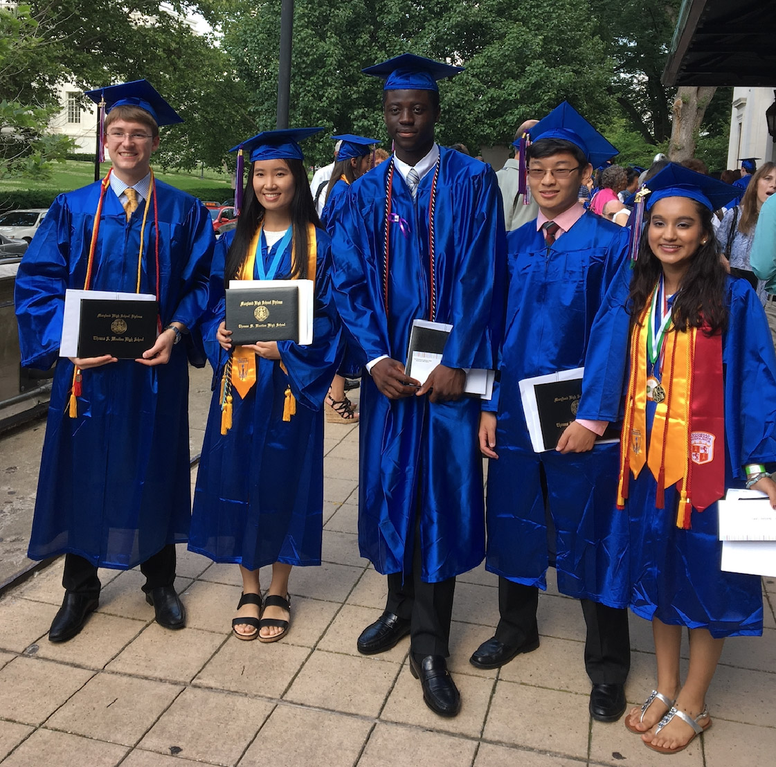 The 2017 Dr. Doran Scholars are (left to right) Jackson Helling, Eileen Chen, Kwame Frimpong, Evans Chen and Gunleen Deol. They're pictured outside DAR Constitution Hall.