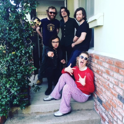 Diane Coffee with Bobby Weirdo at Weirdo Music Forever HQ. Clockwise from left: BW, Glenn Myers, Drake Ritter, Caleb Hickman, Shaun Fleming/DC, Ben Lumsdaine