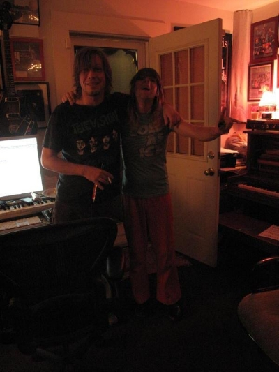 Jason and Ariel Pink at a recording session. Photo: R. Stevie Moore