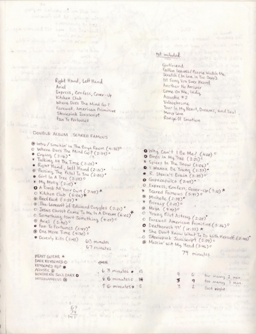Original handwritten notes by Ariel for the Scared Famous double album, including songs that did not appear on the release.