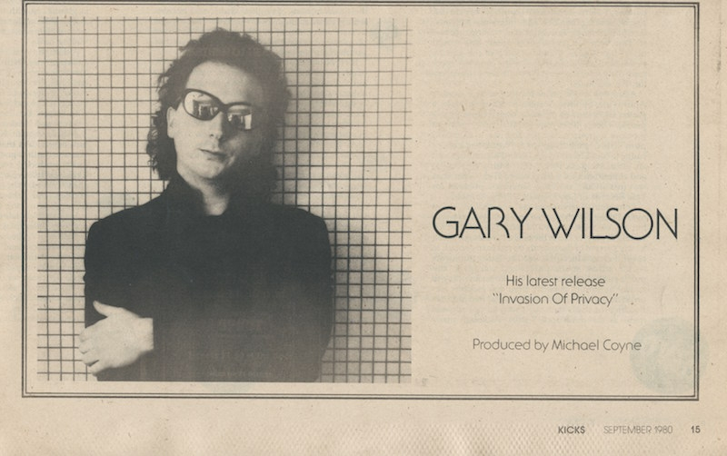 The first of two ads for Gary Wilson's  Invasion of Privacy  EP, run in KICKS magazine.