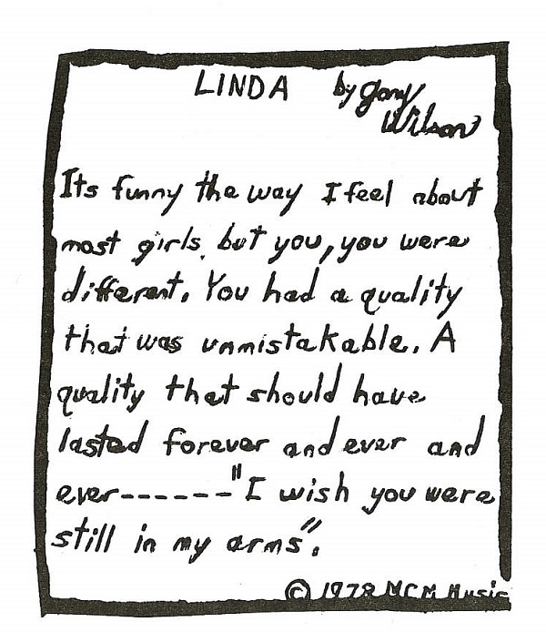 Gary's words to Linda, included with the seven inch single