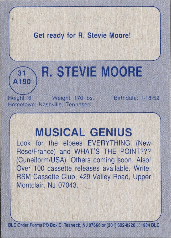 The back of the rare 1984 R. Stevie Moore trading card we got our hands on- stats included!. Photo: WMF