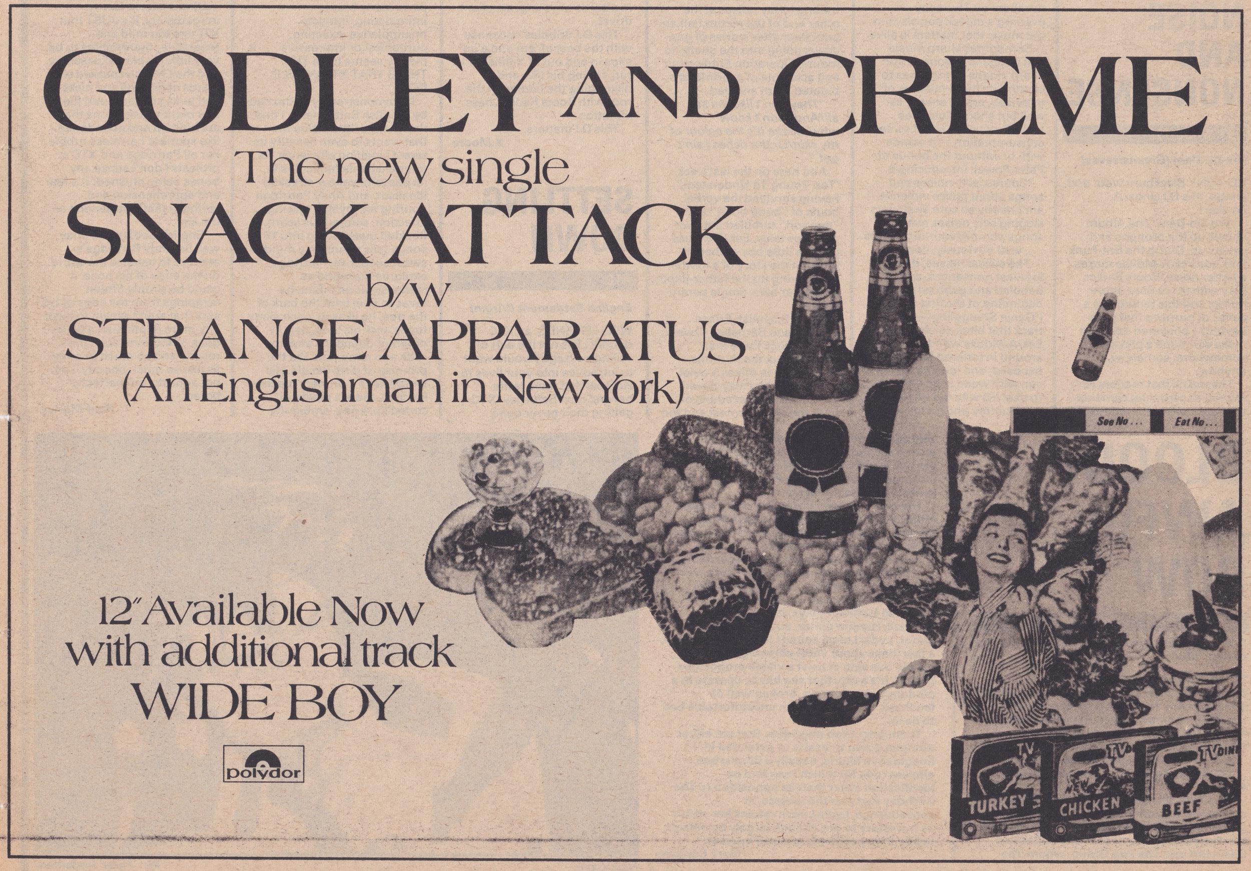 Vintage Godley and Creme newspaper ad