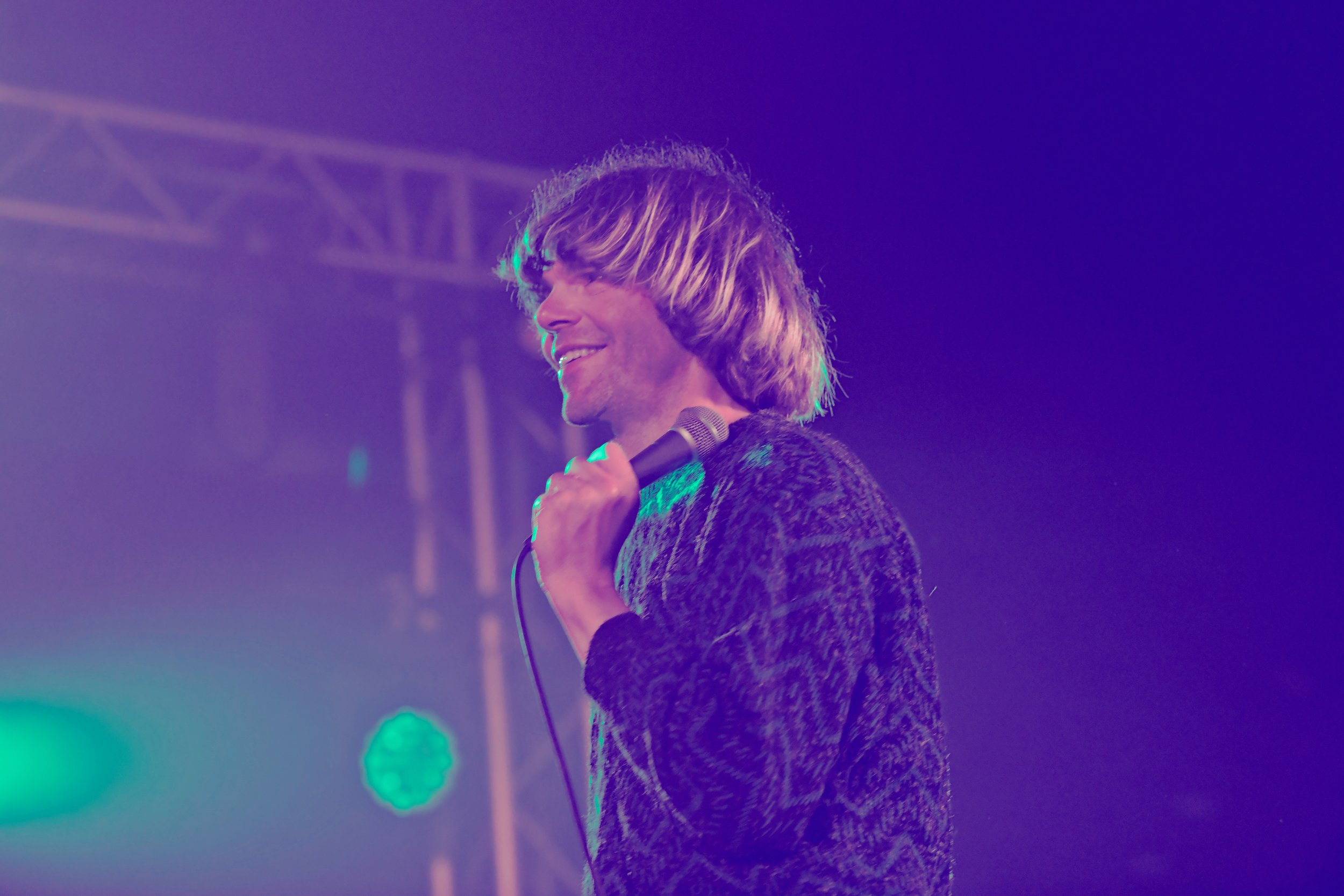 Tim Burgess performing at the Calling Out tent during Kendal Calling 2019. Photo: Cameron Murray