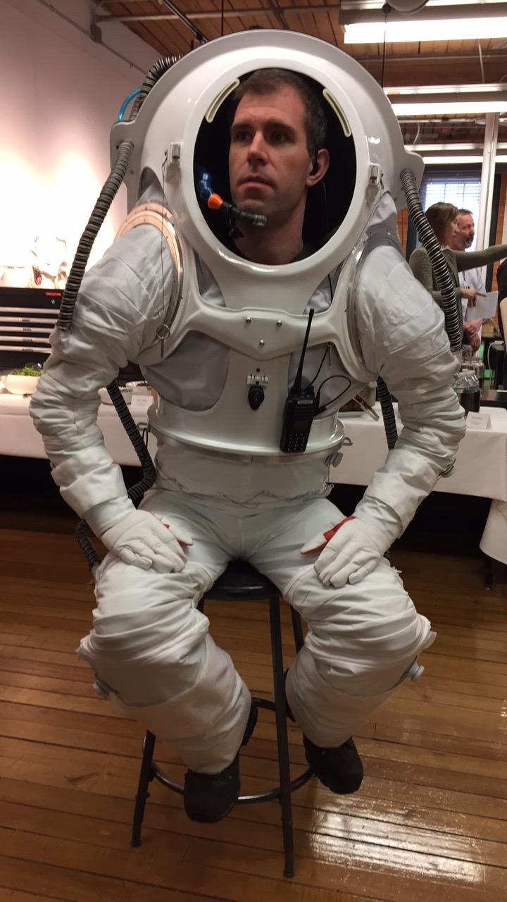 Andrzej Steward - Hi-SEAS crew member - wearing the suit.