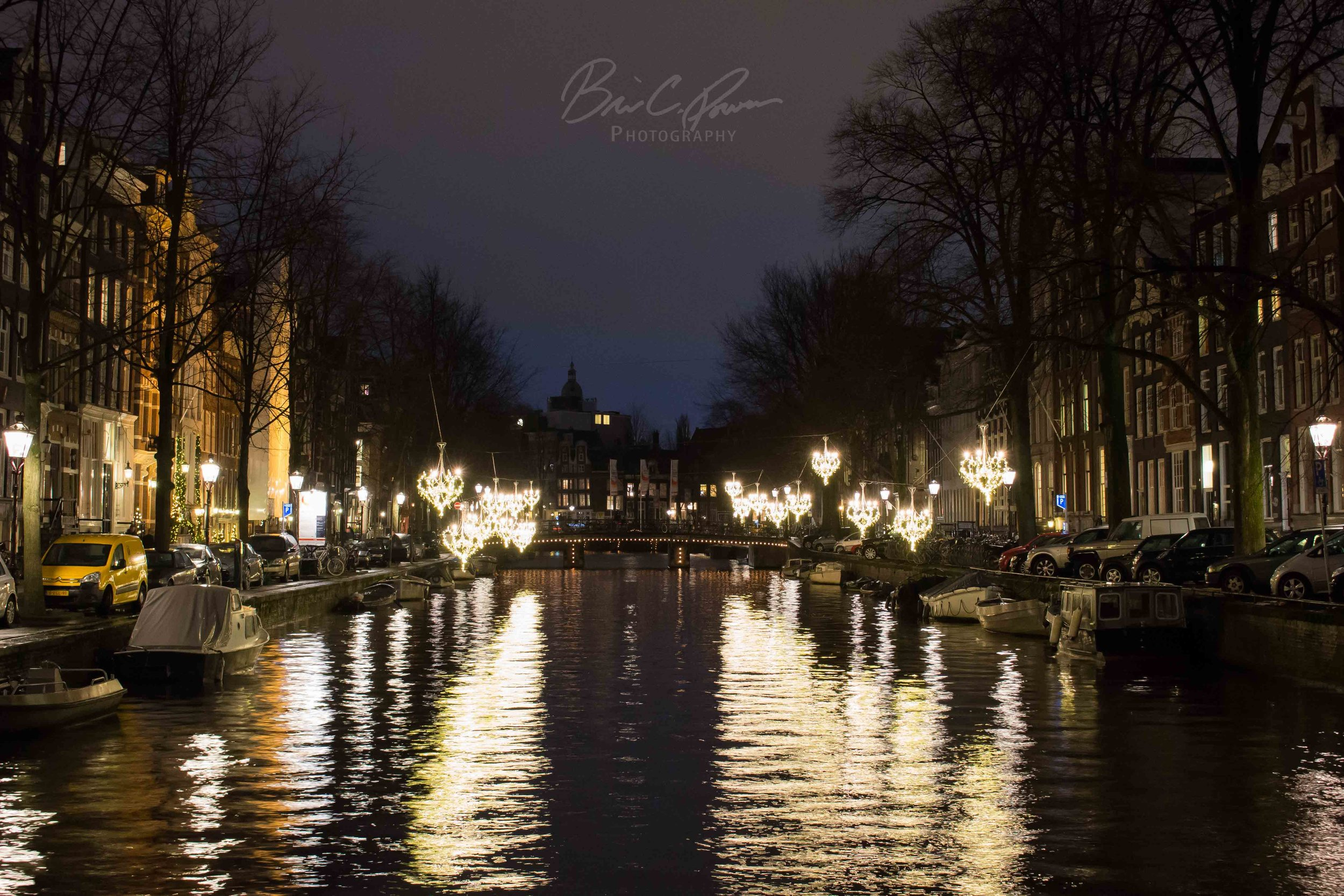 Evening on the canal. Amsterdam, The Netherlands.