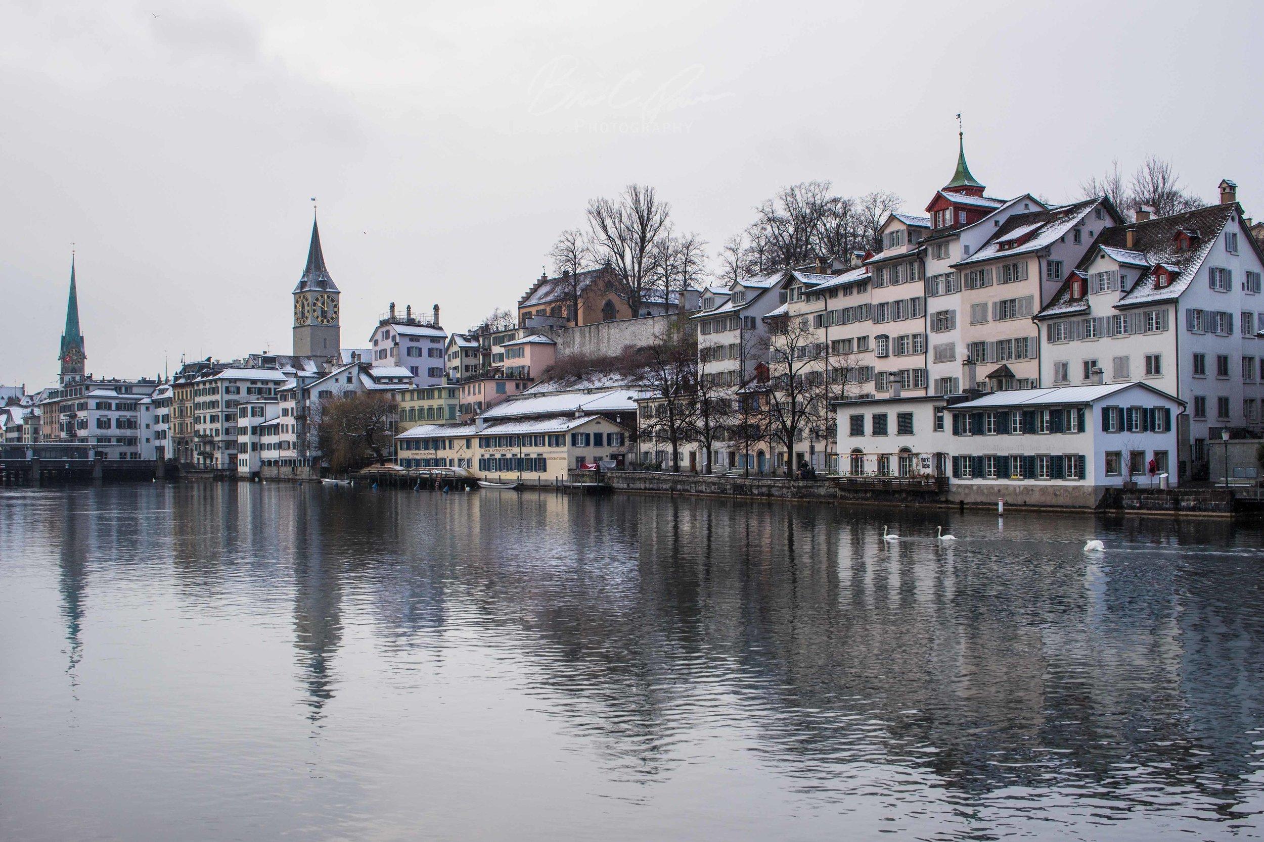 Banks of Limmat in Zurich, Switzerland