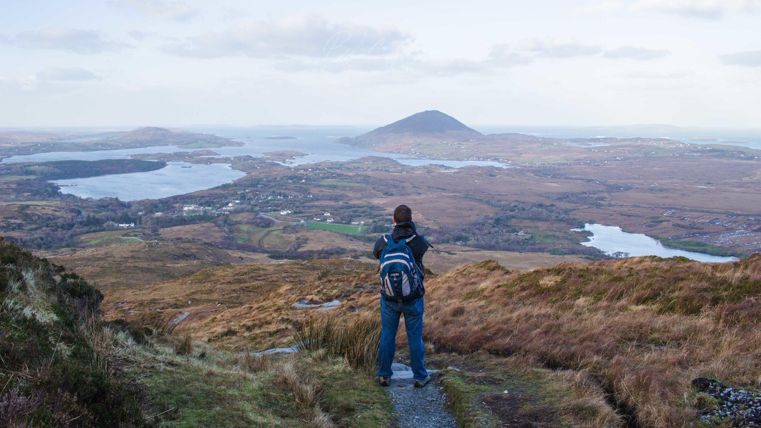 Wanderer. Connemara National Park, Ireland.