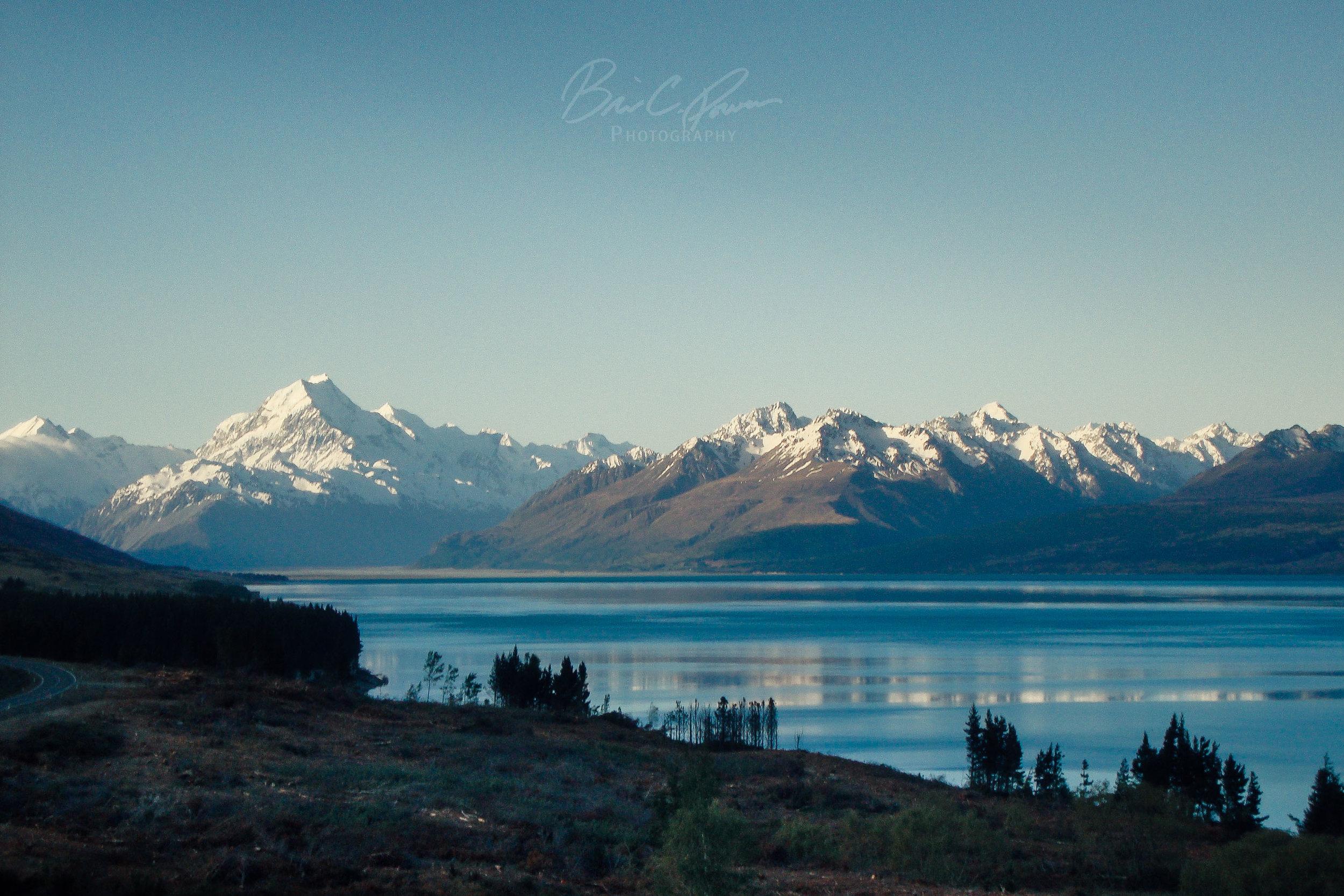 Mt. Cook at sundown across Lake Pukaki.