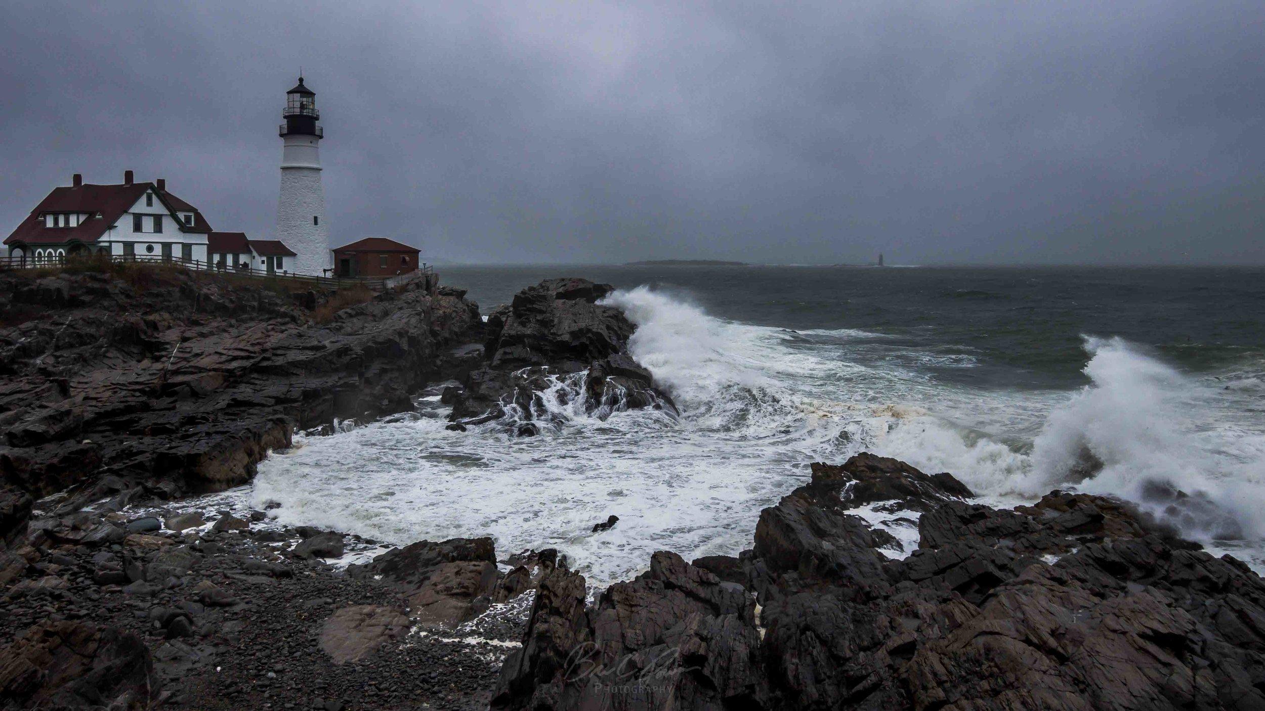 Storm Surge Creating Waves at Portland Head Light, Cape Elizabeth, Maine