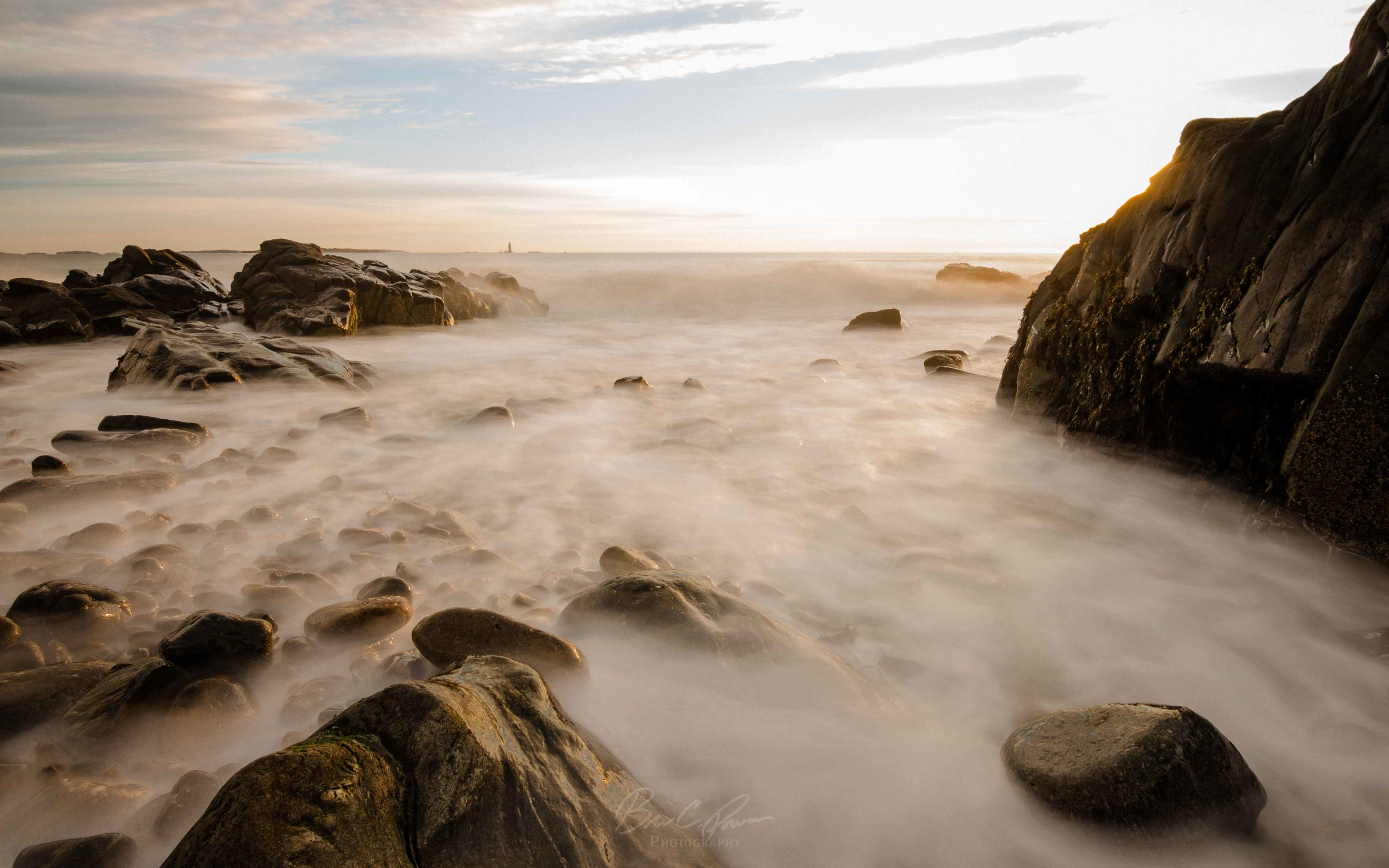 Golden Long Exposure on the Rugged Maine Coastline