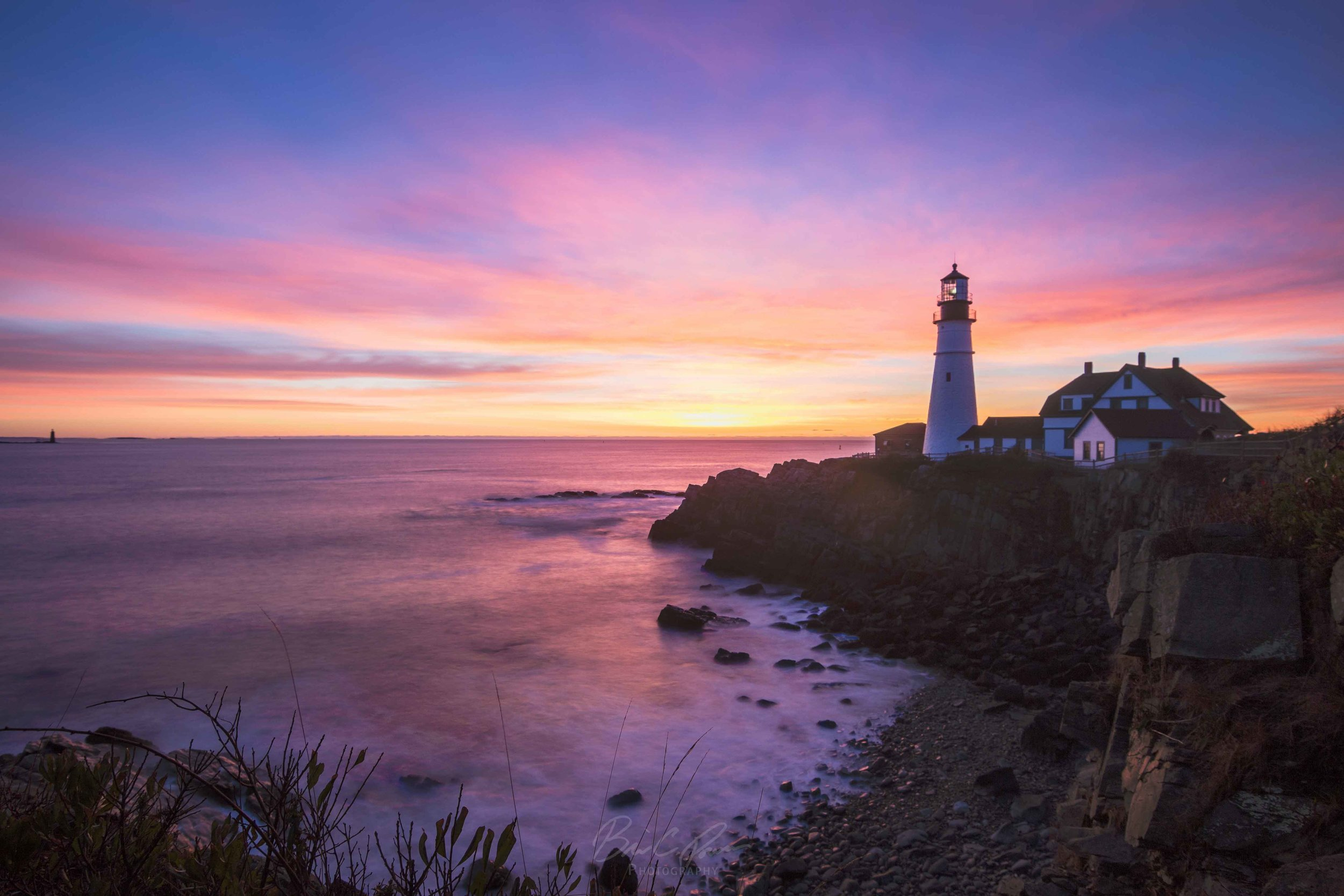 Purple Sky at Portland Head Light at Fort Williams Park in Cape Elizabeth, Maine