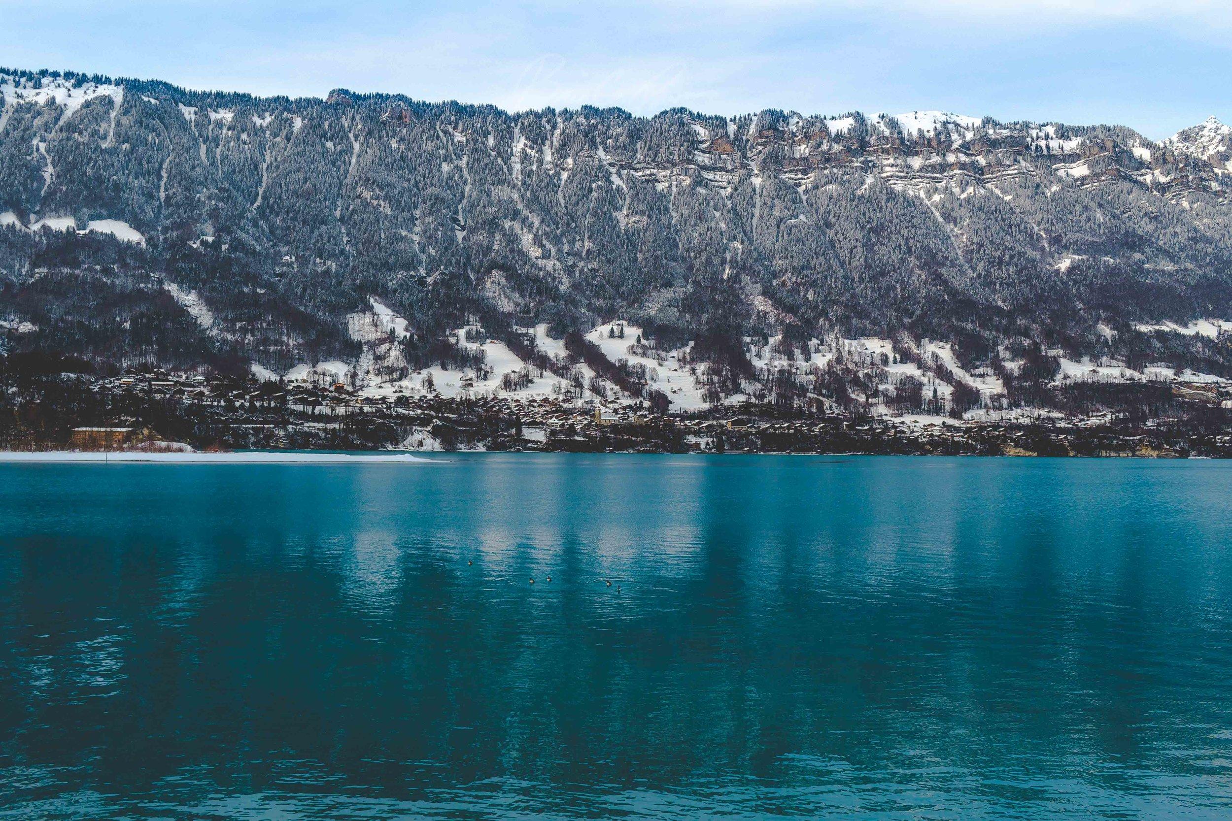 Winter on Lake Brienz in Interlaken, Switzerland