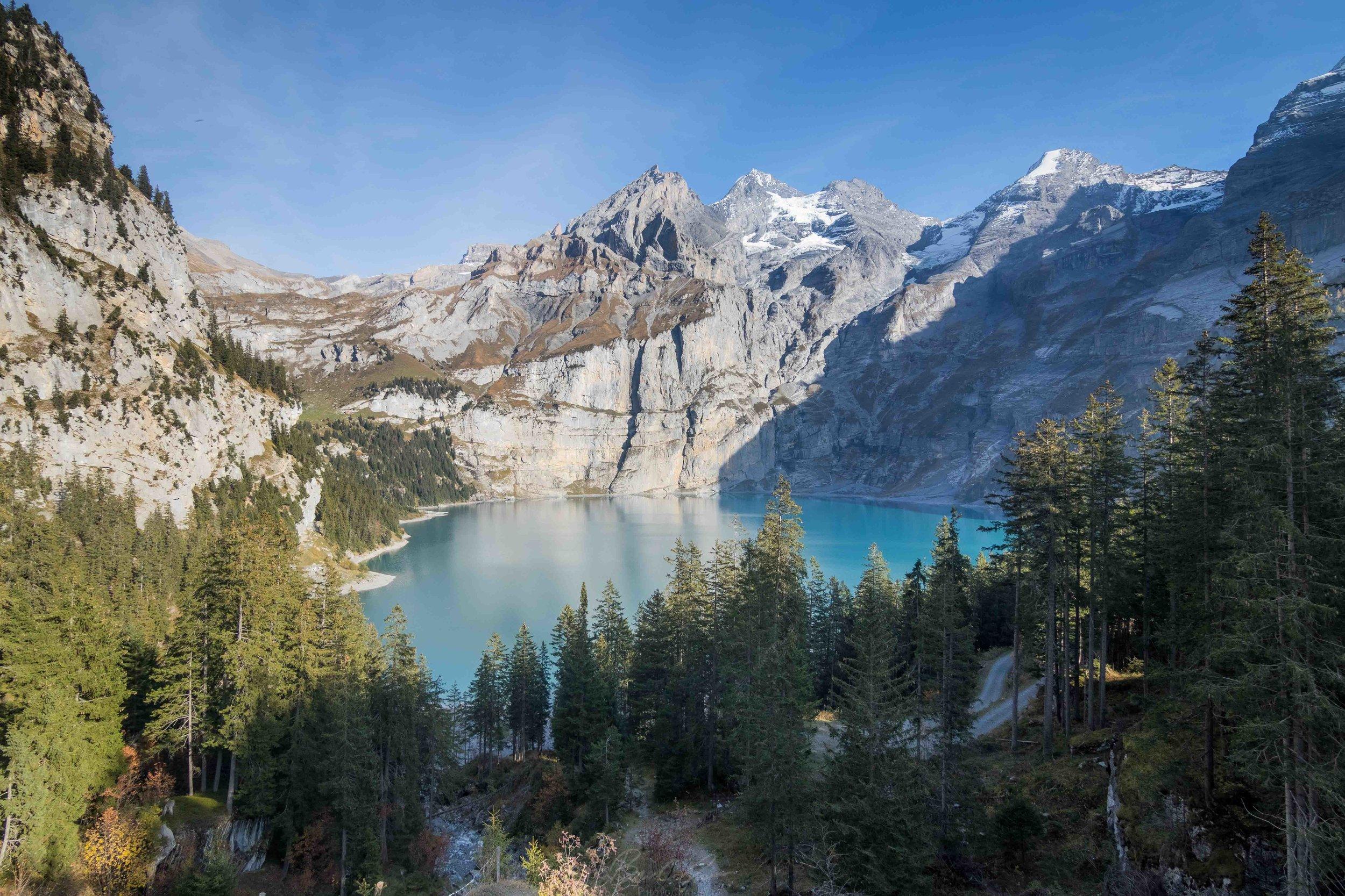 Panoramic View of Oeschinen Lake in Bernese Oberland Switzerland