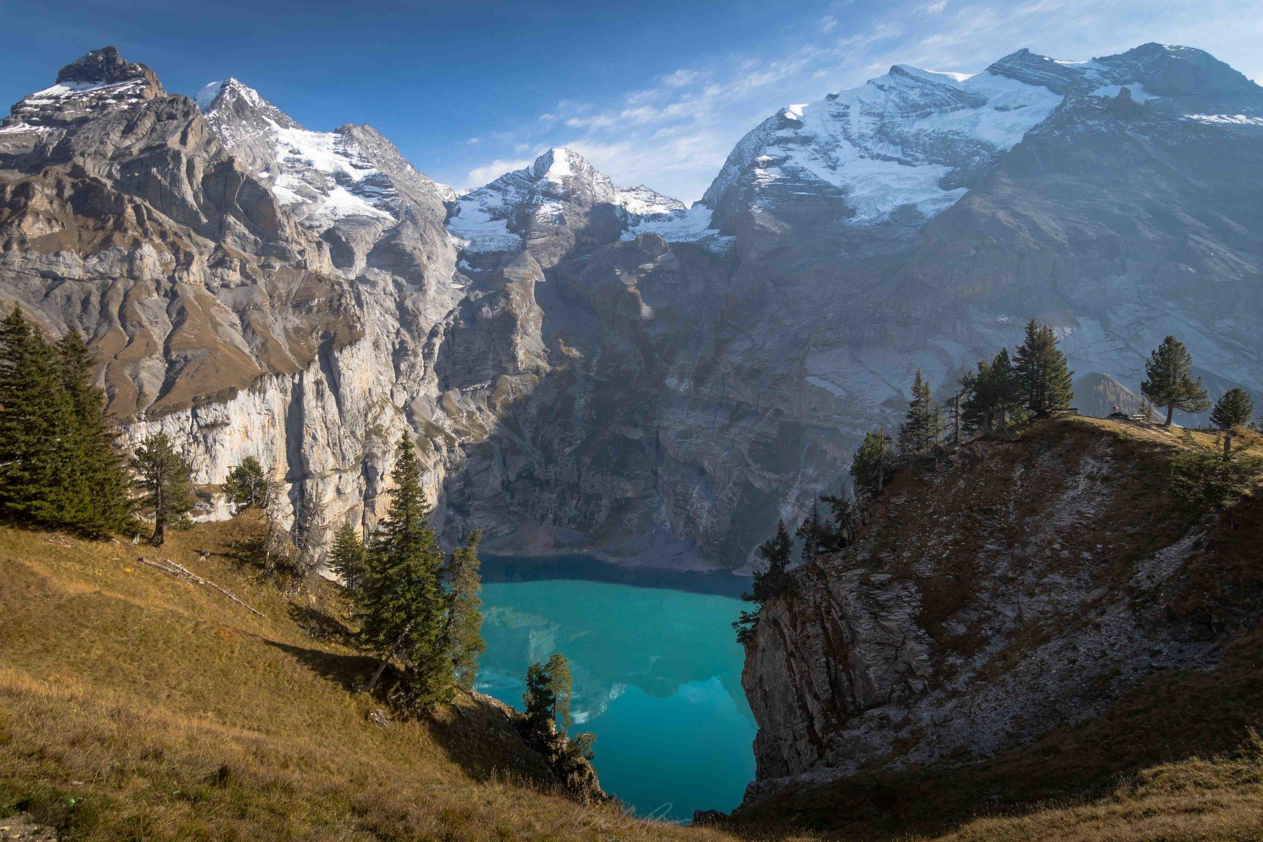 Heuberg Loop Trail View of Oeschinen Lake in Bernese Oberland Switzerland