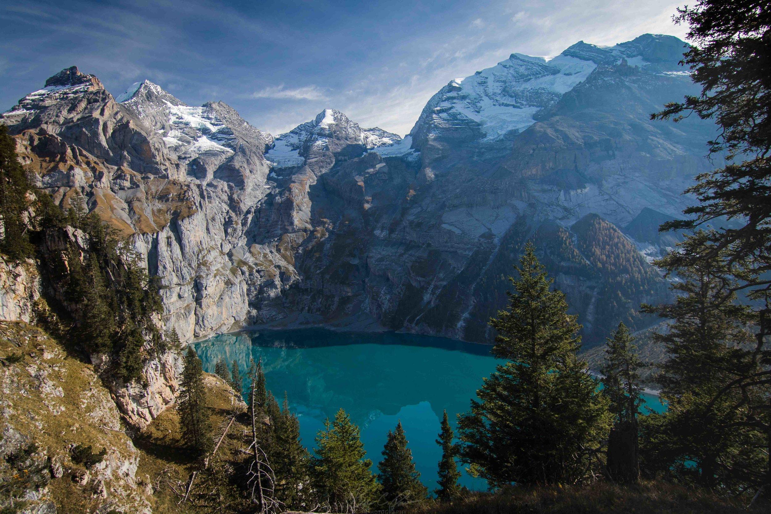 Tranquil Oeschinen Lake in Bernese Oberland Switzerland