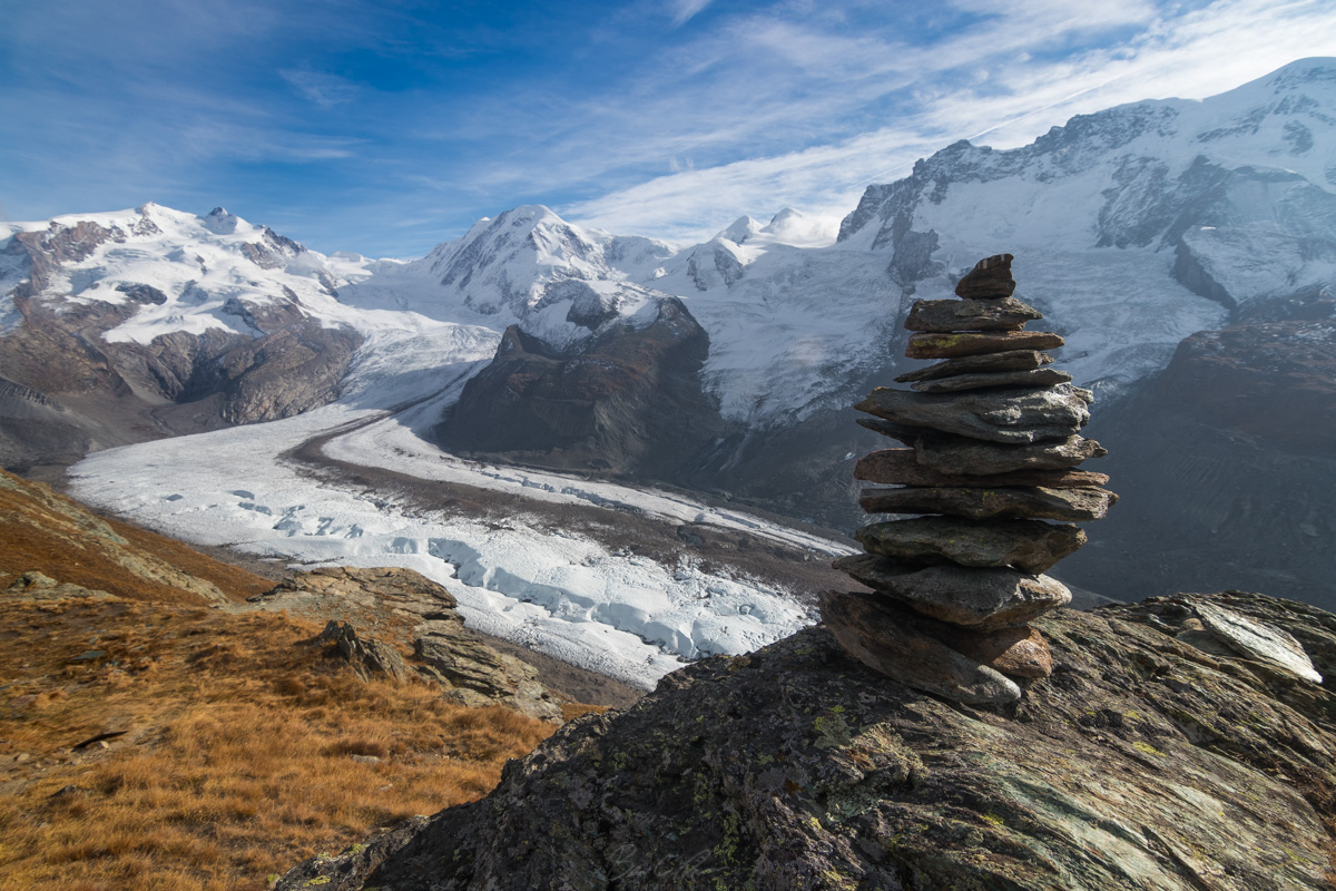 Gorner Glacier from Riffelsee stop on Gornergrat Train above Zermatt, Switzerland.