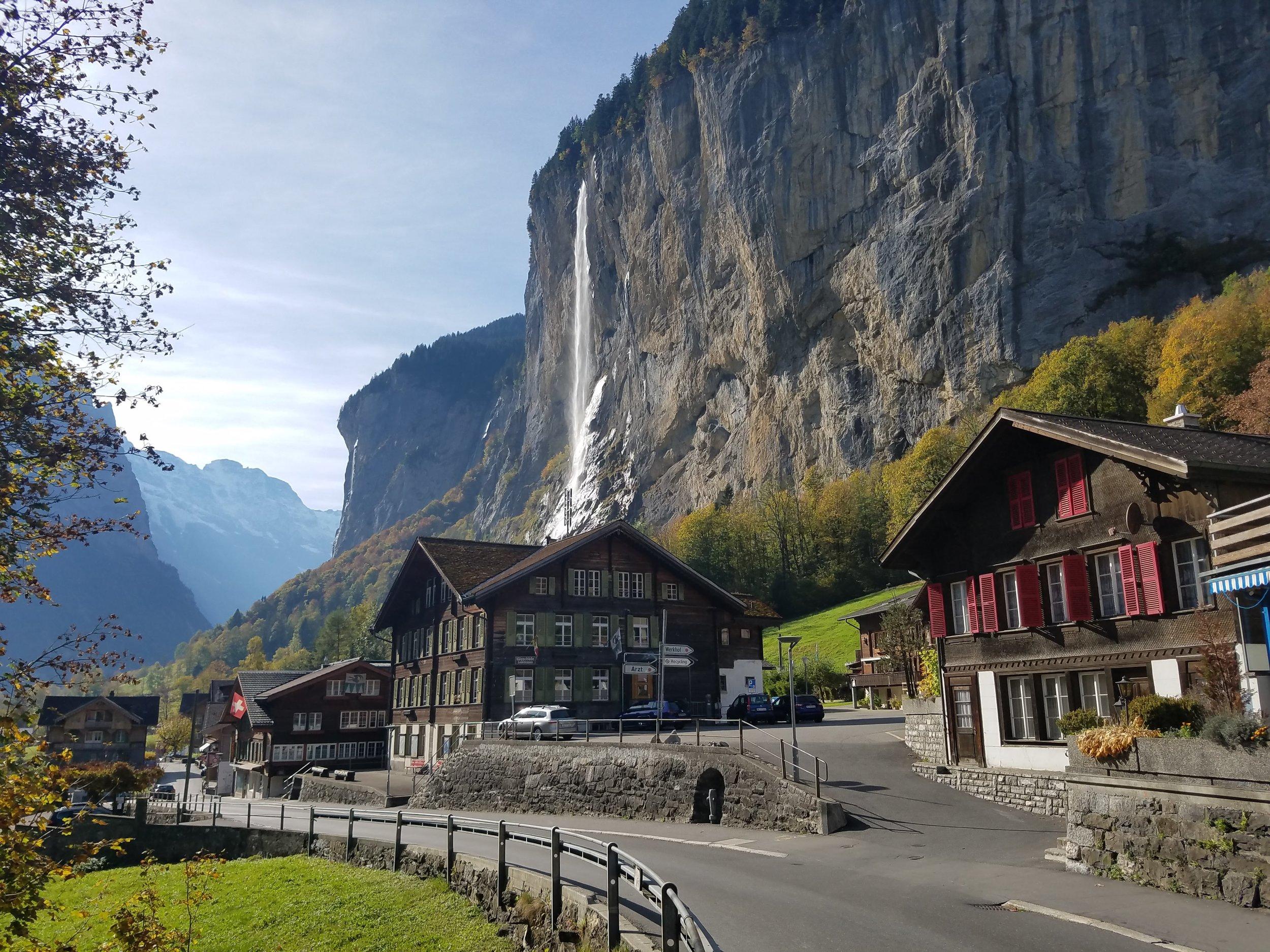 Staubbach Falls in Lauterbrunnen, Switzerland