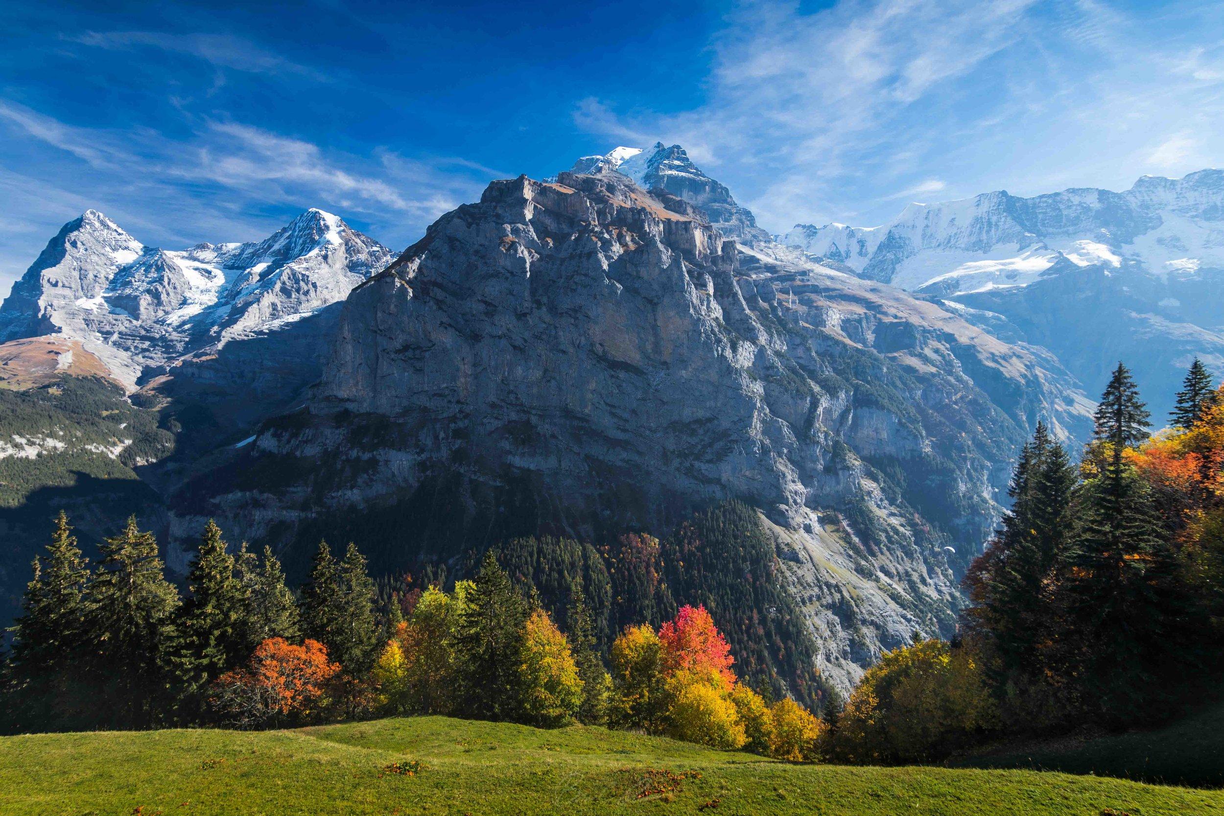 Fall in Mürren, Switzerland. View of Eiger and Lauterbrunnen Valley.
