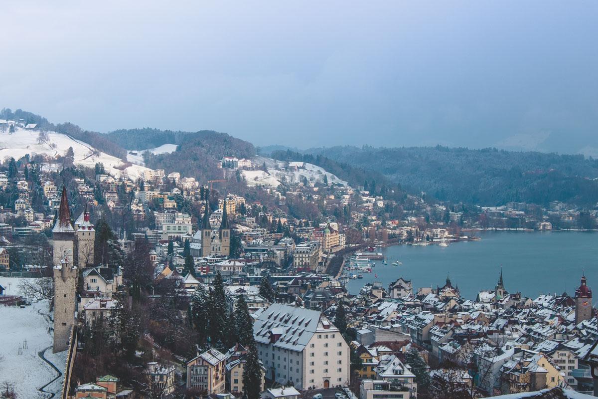 Winter in Lucerne Switzerland from Gütsch Funicular overlook