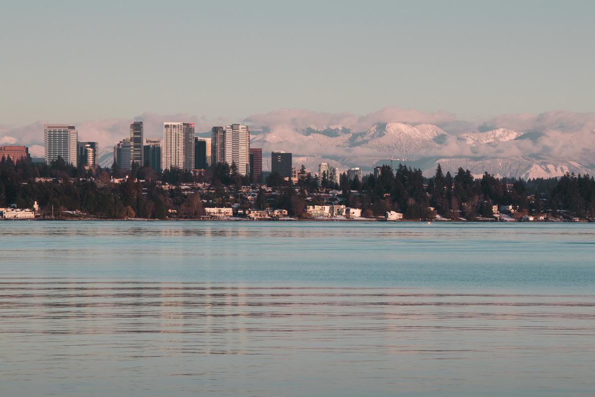 Sunset Upon Bellevue From Lake Washington