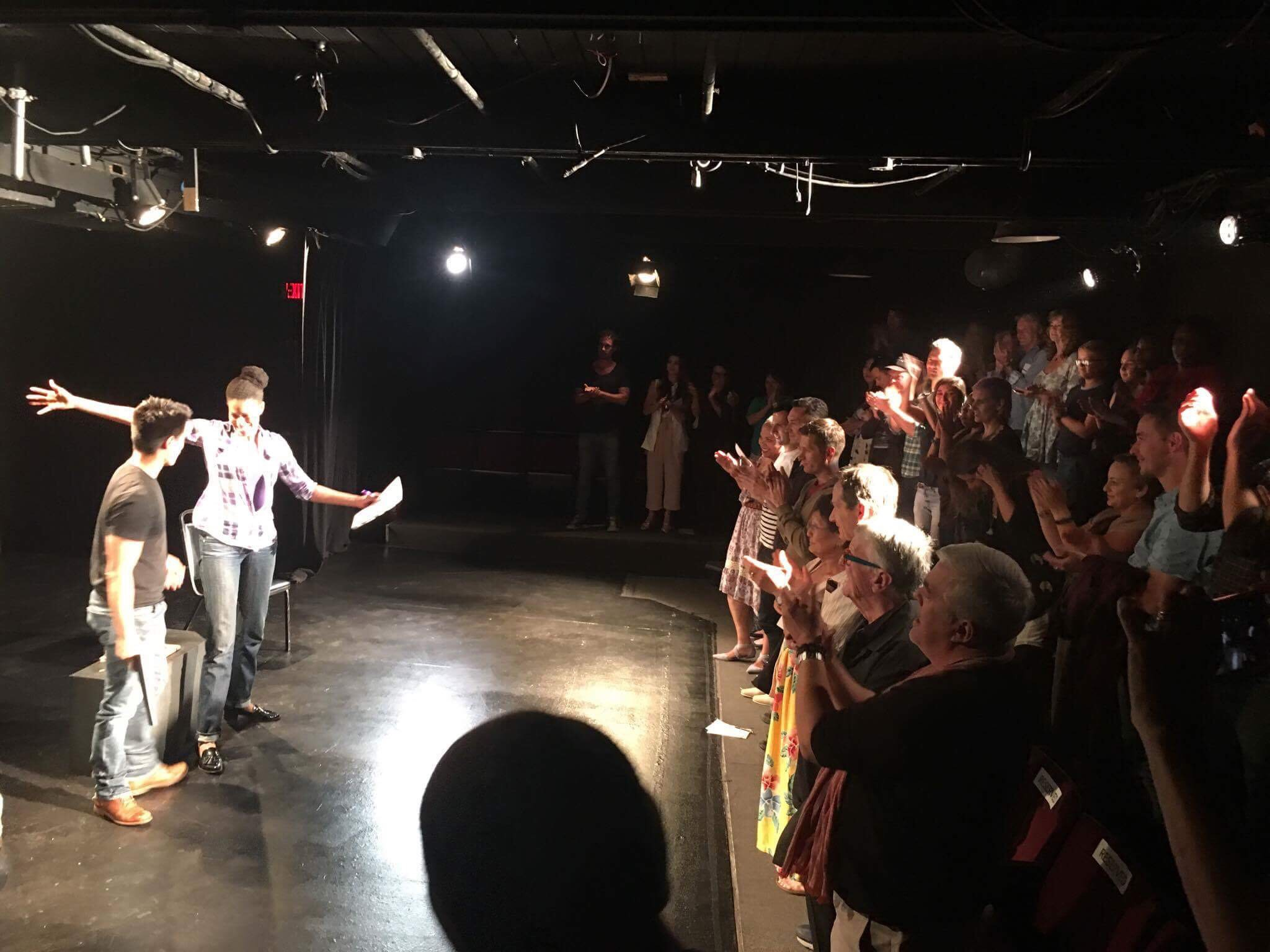 Adolfo Cruzado receiving standing ovation at a reading of  Keeping in Touch , Australian Theatre Company, Los Angeles, 2017