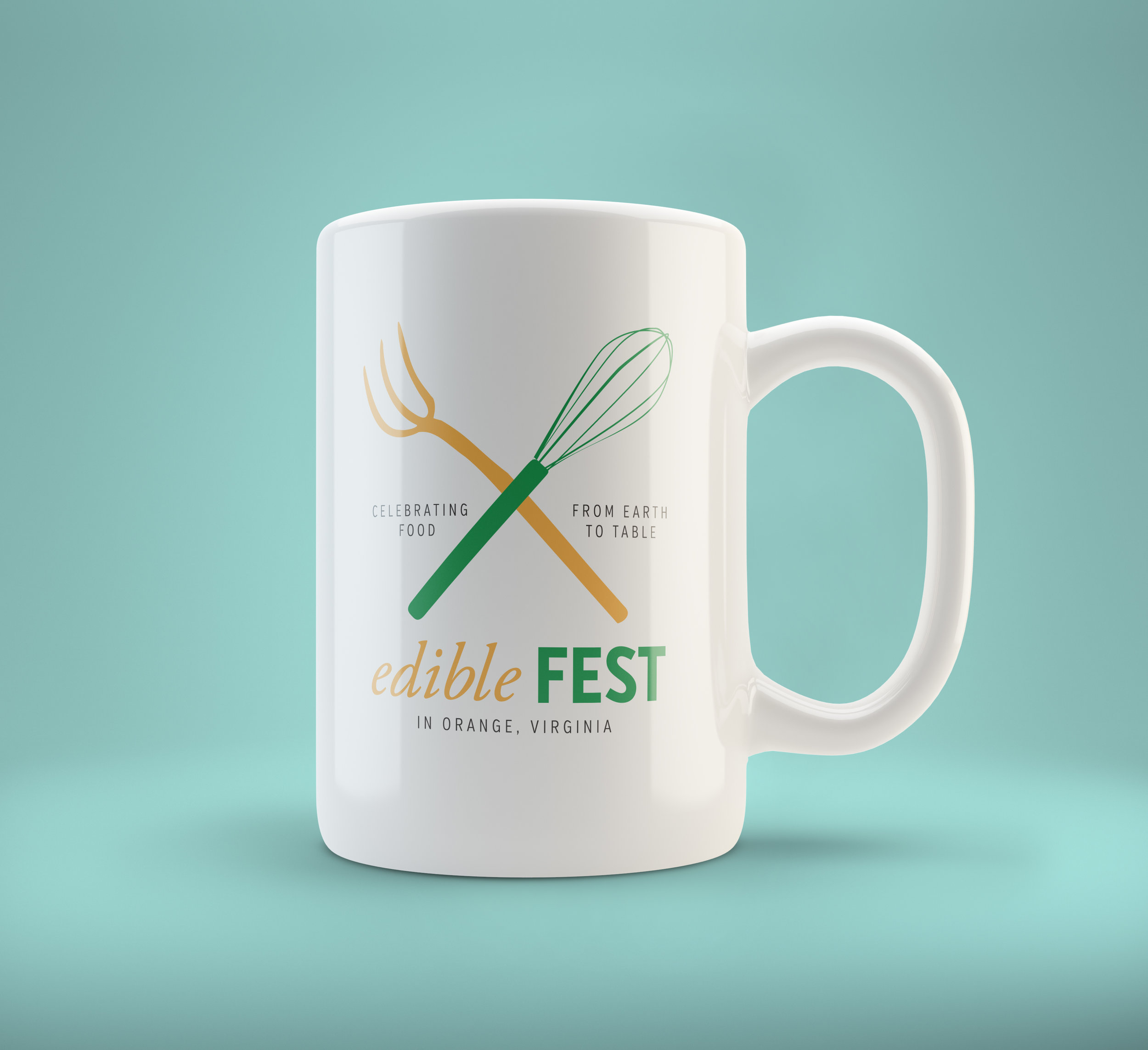 Logo design for an earth-to-table food festival in Virginia, seen here on a coffee cup. Their previous logo was all about the food, but the actual event was all about process, with chances to meet the food producers and watch chefs at work, so we made that point with some tools of the trade.