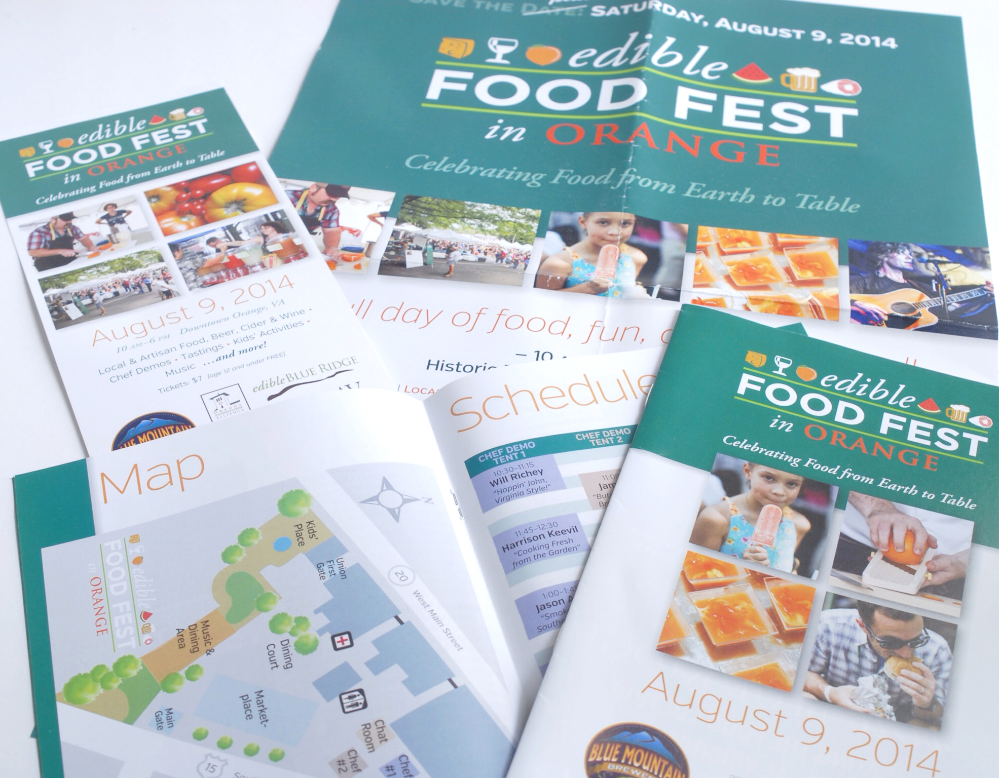 In its first year, the  edible FEST had a confusing variety of looks, with a rack card designed by the local tourism bureau, a very different-looking ad designed by the magazine in which it ran, and a website with yet another visual identity. I pulled these all together into a unified appearance for all communications, with a style we applied to business cards, banners, promotional kits for prospective sponsors, name tags, and everything connected to the festival. A few of the pieces are above.  Through consistent repetition, people will be able to recognize your materials before they even read them, and will see that you have your act together.