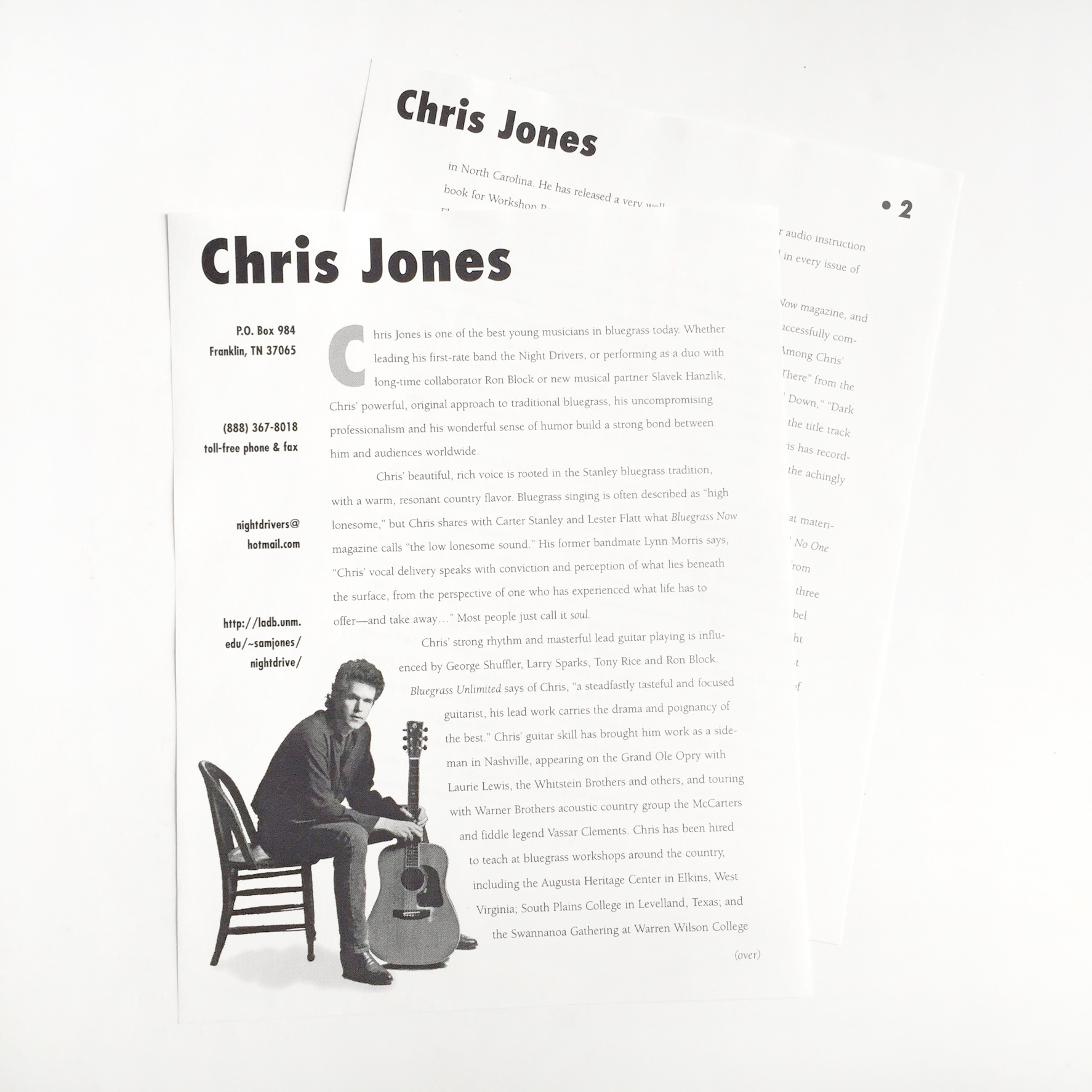 I wrote this bio for Chris early in his career, and it's a good example of economical printing. With just one color ink and no bleed, it could be reproduced on any copy machine. I used the same design elements but a different color of paper for each piece of the promo kit, and the finished product was quite handsome.