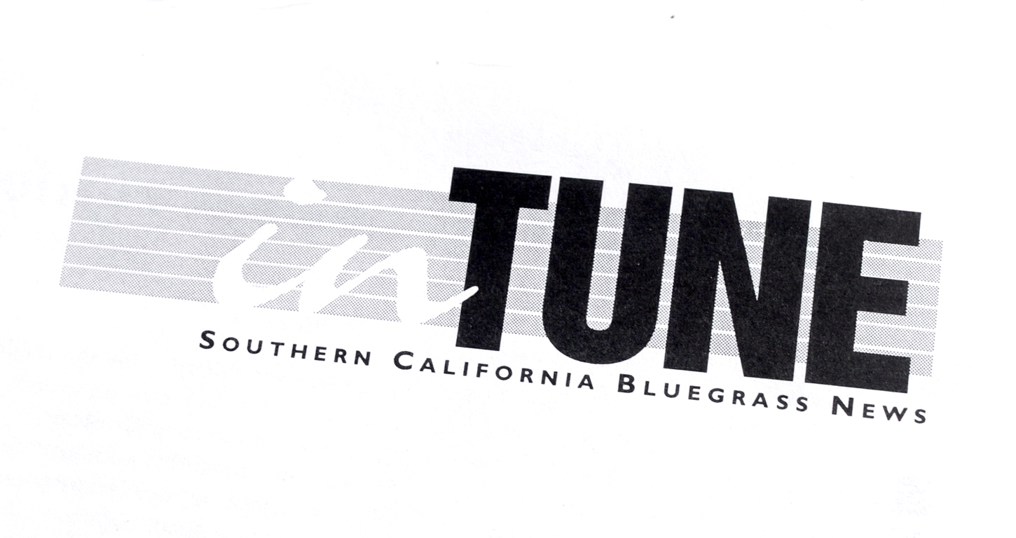 "A logo for the combined newsletter and website of the San Diego Bluegrass Society and the Bluegrass Association of Southern California. I chose the name "" in TUNE"" to reinforce the cooperation between the two groups, but it also lent itself to calls to action: ""Get  in TUNE!"" The horizontal lines of the logo suggest the fingerboard of a stringed instrument or the lines of a musical staff, without being too literal."